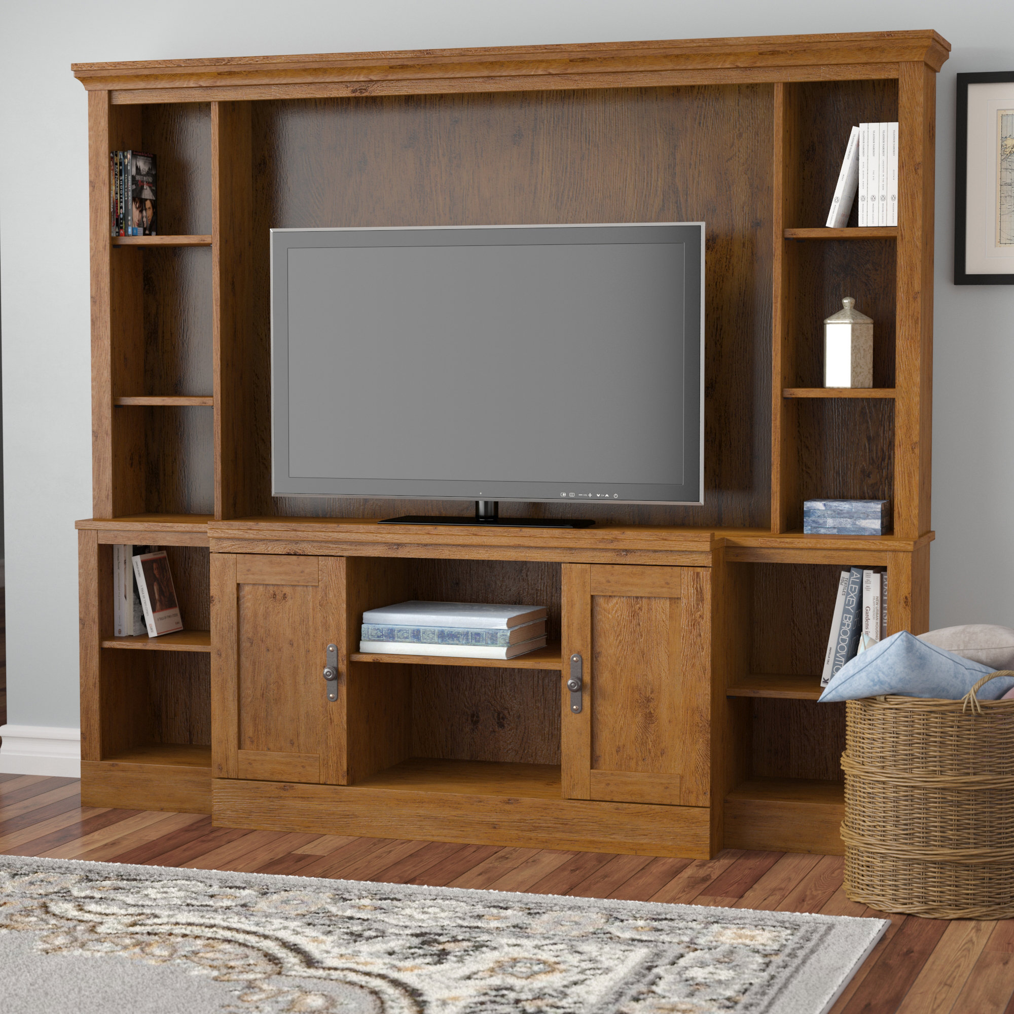 Tv Stands With Hutch You'll Love | Wayfair Pertaining To Kilian Grey 74 Inch Tv Stands (View 4 of 30)