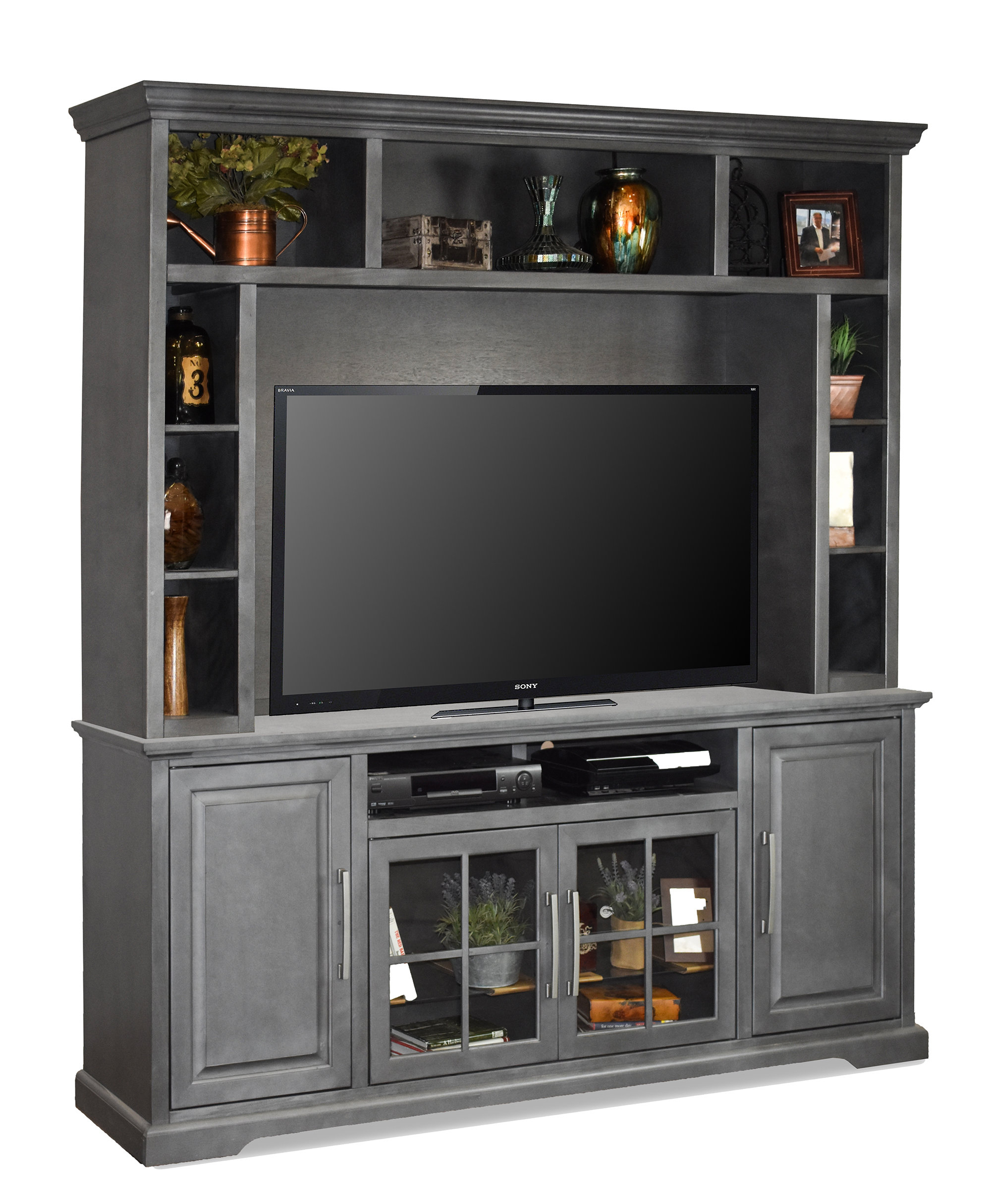 Tv Stands With Hutch You'll Love | Wayfair Regarding Kilian Grey 74 Inch Tv Stands (View 5 of 30)