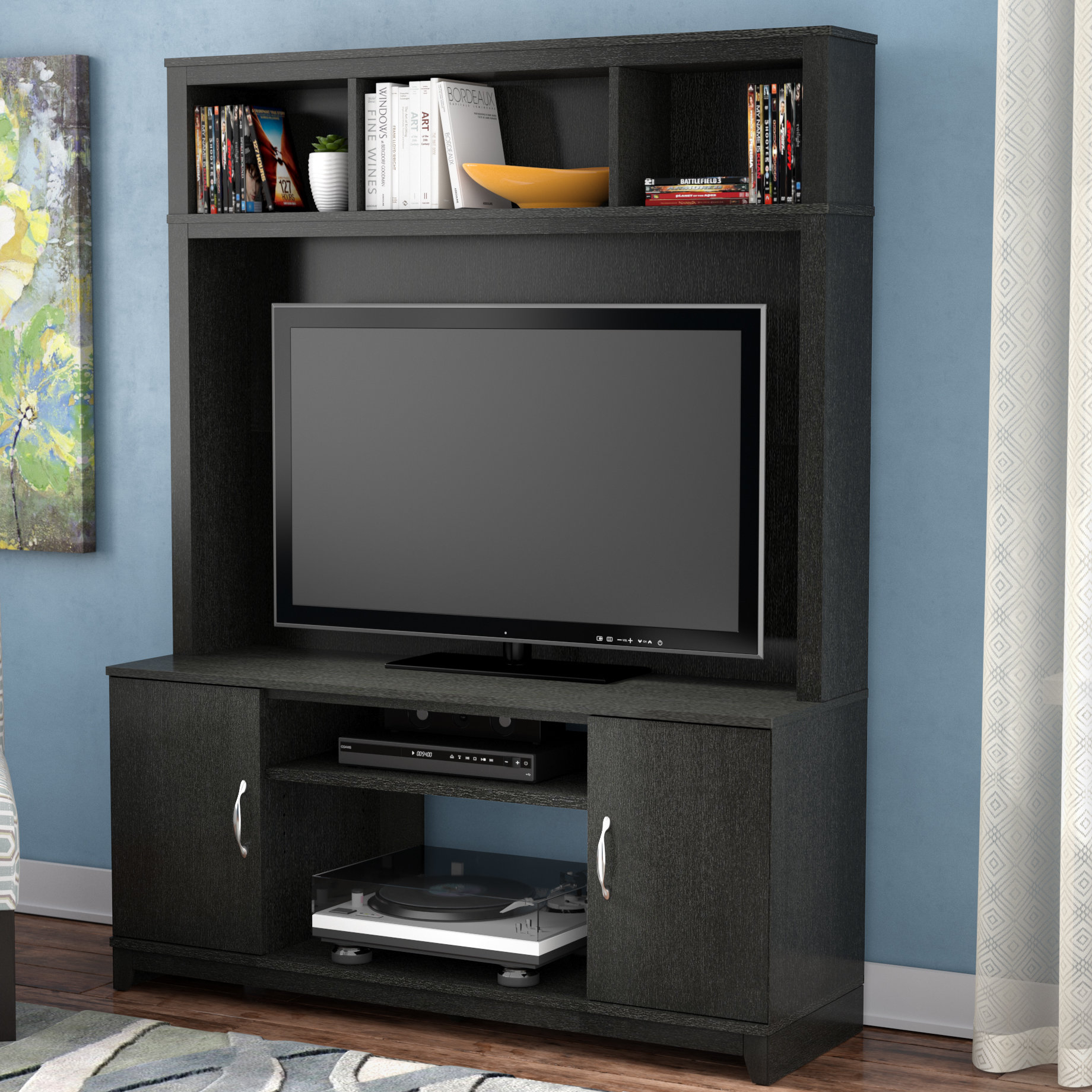 Tv Stands With Hutch You'll Love | Wayfair With Regard To Kilian Grey 74 Inch Tv Stands (View 3 of 30)