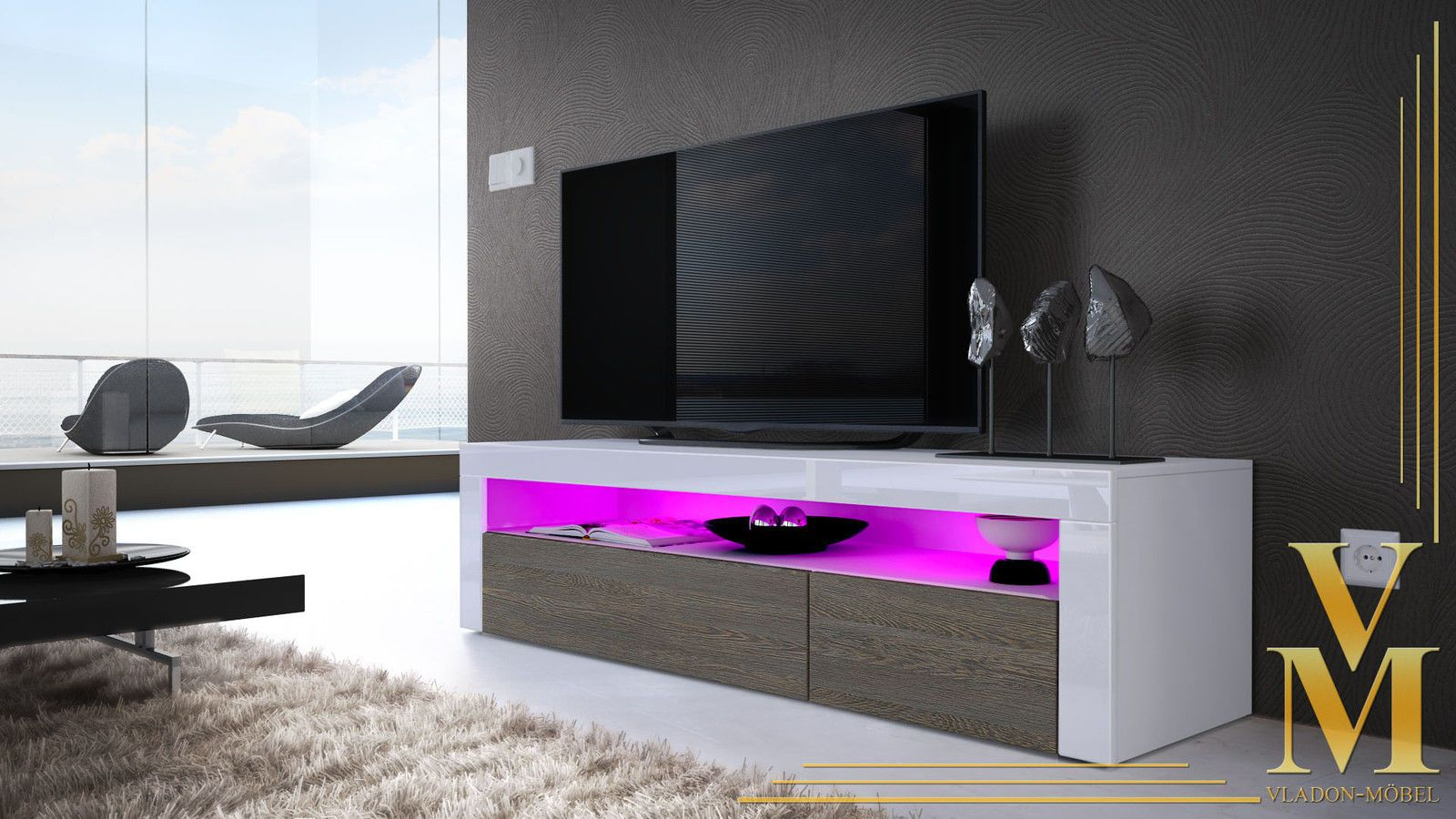 Tv Unit Stand Sideboard Led Valencia In White – High Gloss & Natural Regarding Valencia 60 Inch Tv Stands (View 19 of 30)