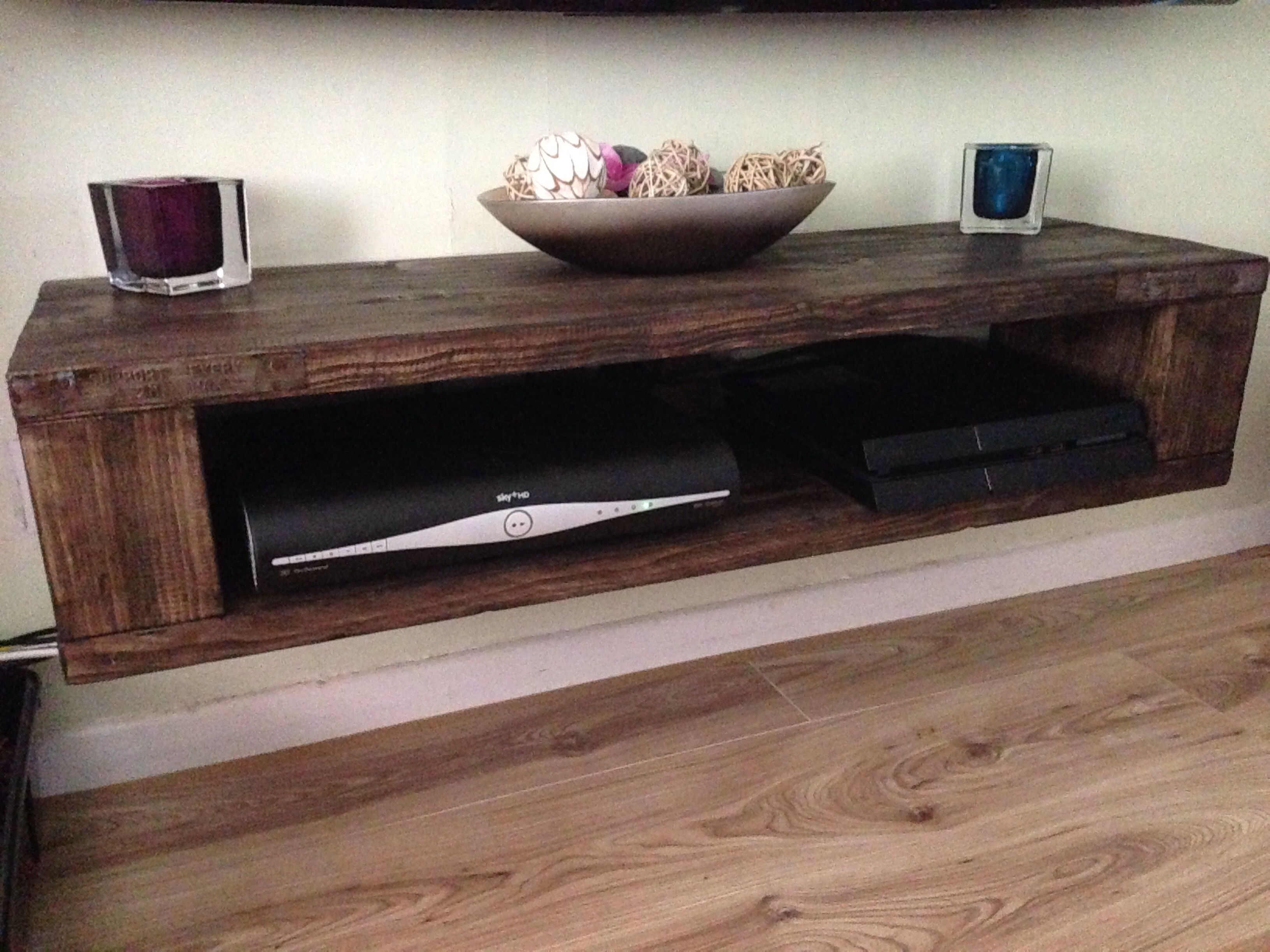 Tv Unit That I Made From An Old Scaffold Plank Then Stained regarding Marvin Rustic Natural 60 Inch Tv Stands (Image 28 of 30)