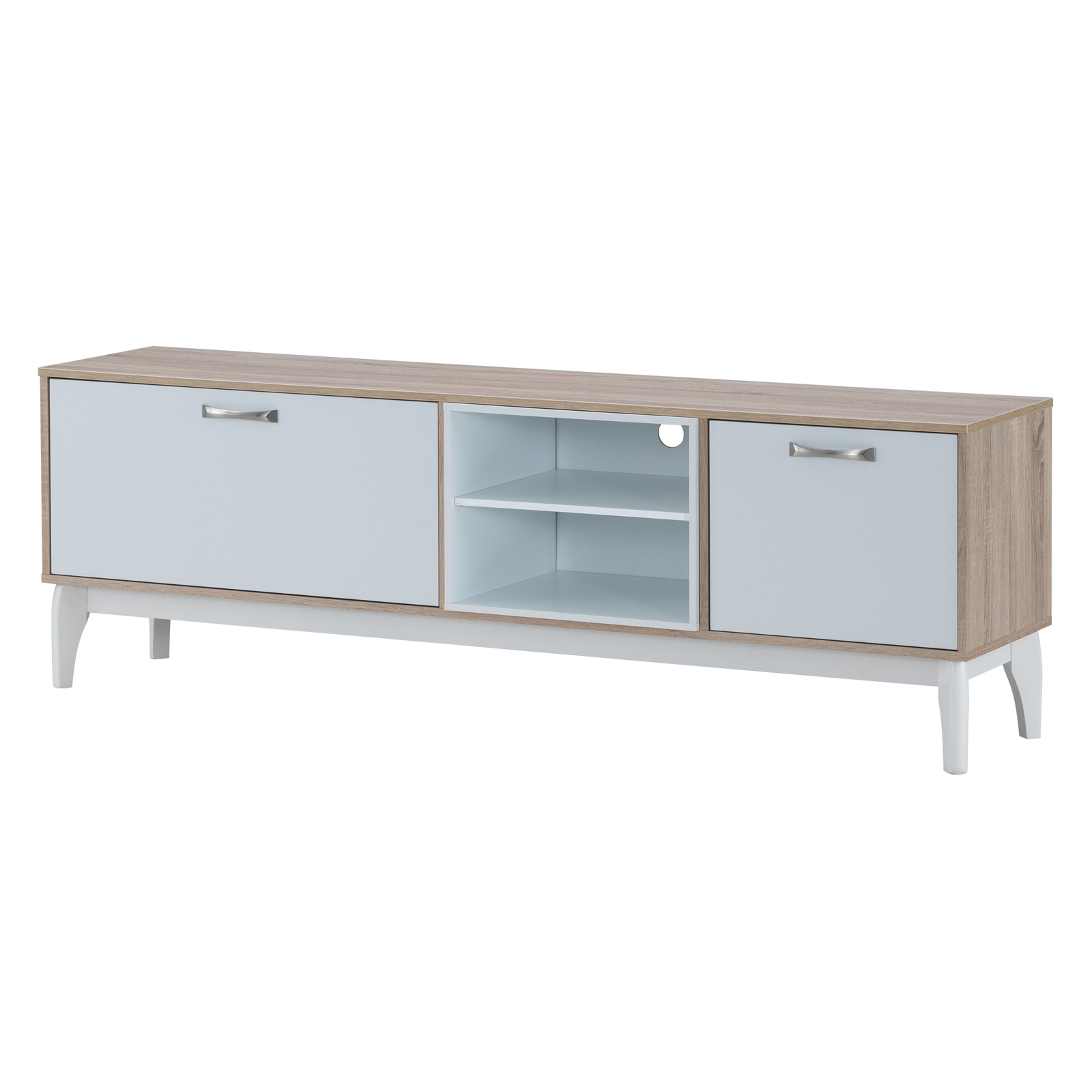 Tv Units | Entertainment Units | Temple & Webster in Natural Wood Mirrored Media Console Tables (Image 27 of 30)