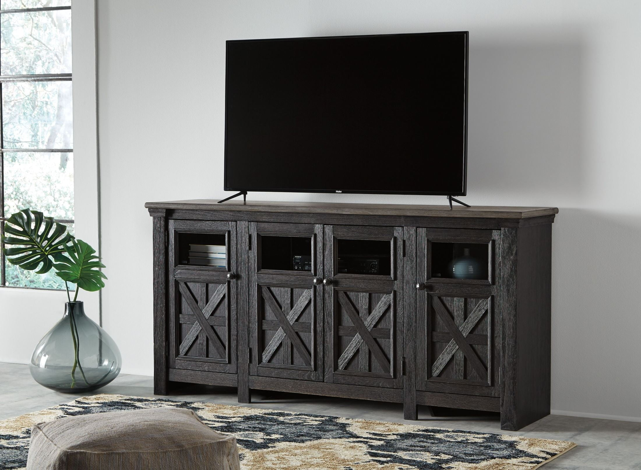 Tyler Creek Black And Gray Extra Large Tv Stand From Ashley Within Vista 68 Inch Tv Stands (View 8 of 30)