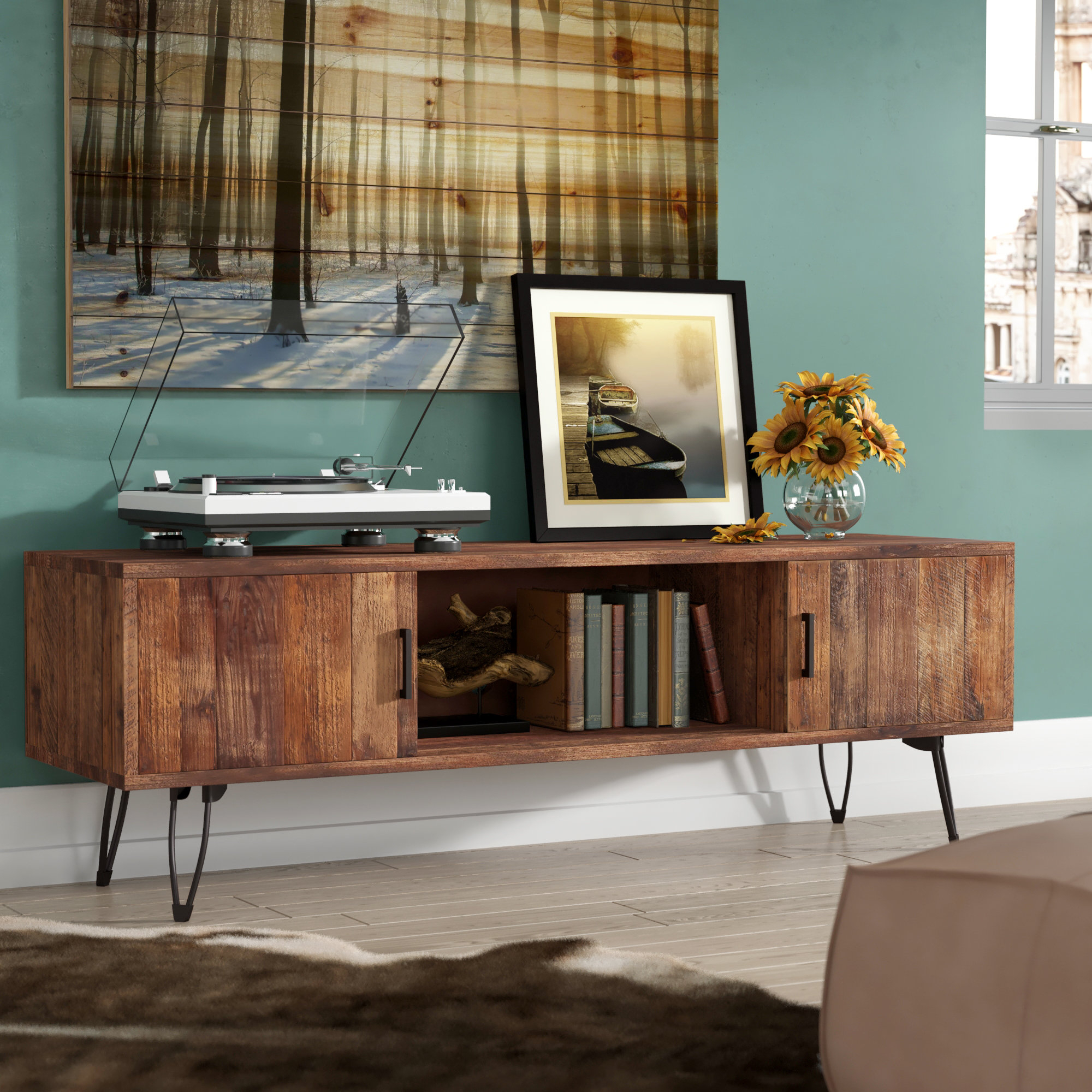 """Union Rustic Adger Media Tv Stand For Tvs Up To 65"""" & Reviews 