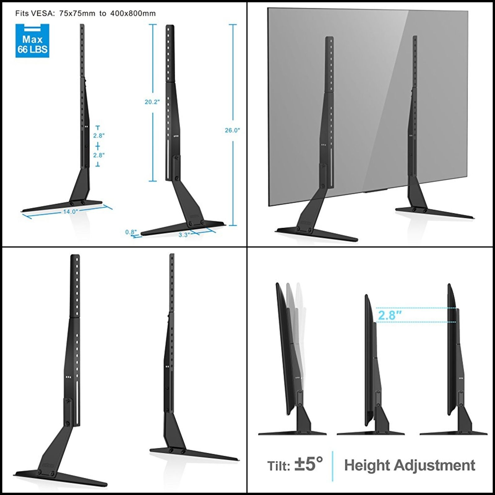 Universal Table Top Tv Stand Base Lcd Hd Led Flat Screens Holder Fit For Forma 65 Inch Tv Stands (View 15 of 30)