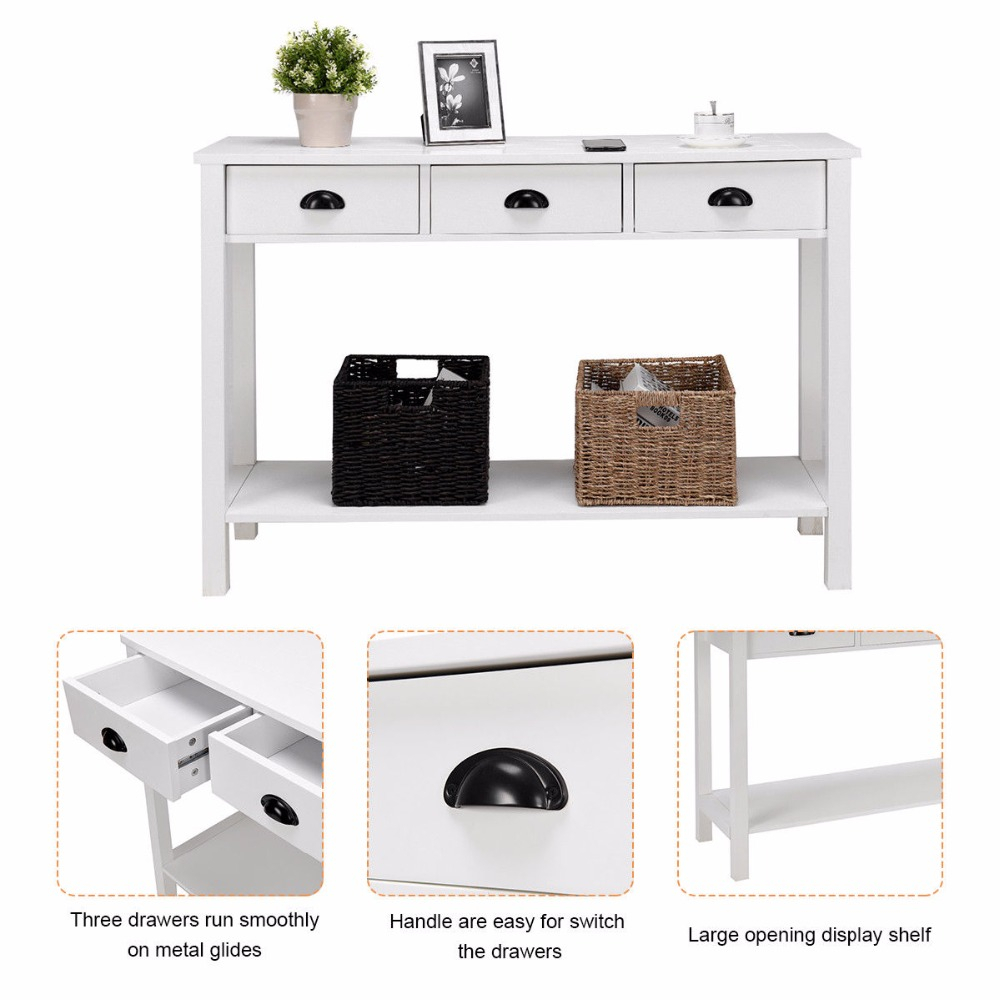 "Us $119.99 |Giantex 47"" Console Table Hall Table Side Desk Accent Table  Drawers Shelf Entryway White Home Furniture Hw58628-In Console Tables From throughout Switch Console Tables (Image 29 of 30)"