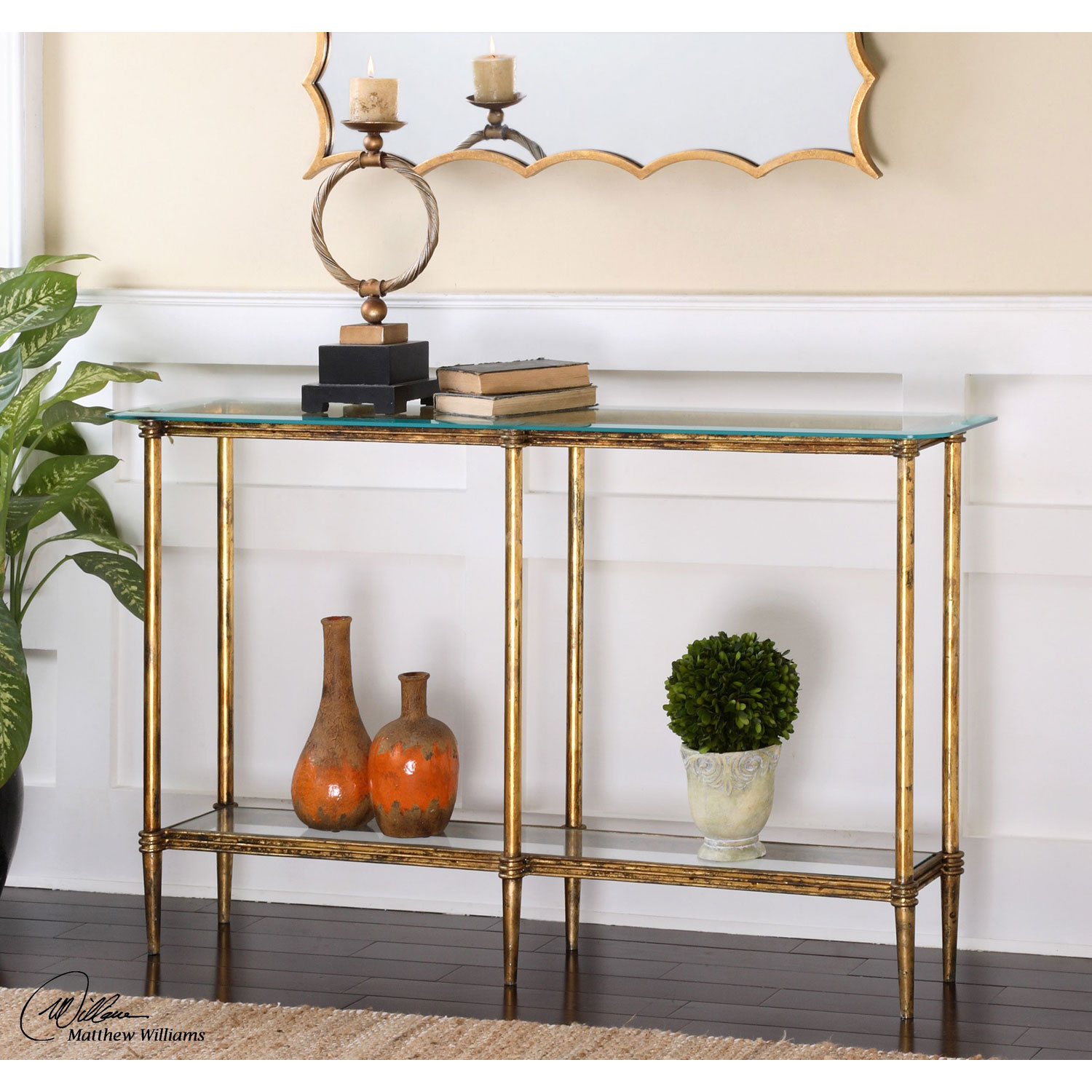 Uttermost Elenio Bright Gold Console Table 24421 | Bellacor intended for Jacque Console Tables (Image 29 of 30)