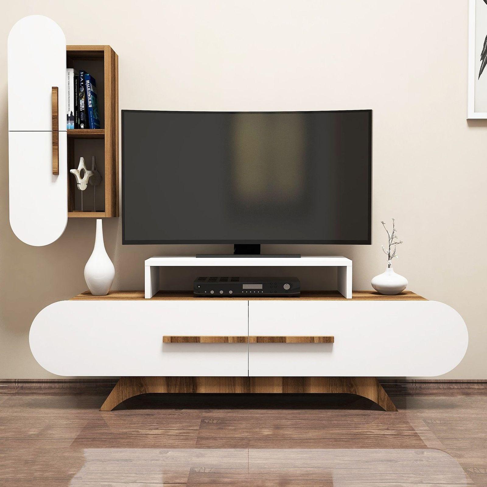 Variant Rose Duvar Raflı Tv Sehpası Ceviz Beyaz | Yukko Inside Ducar 84 Inch Tv Stands (View 18 of 30)
