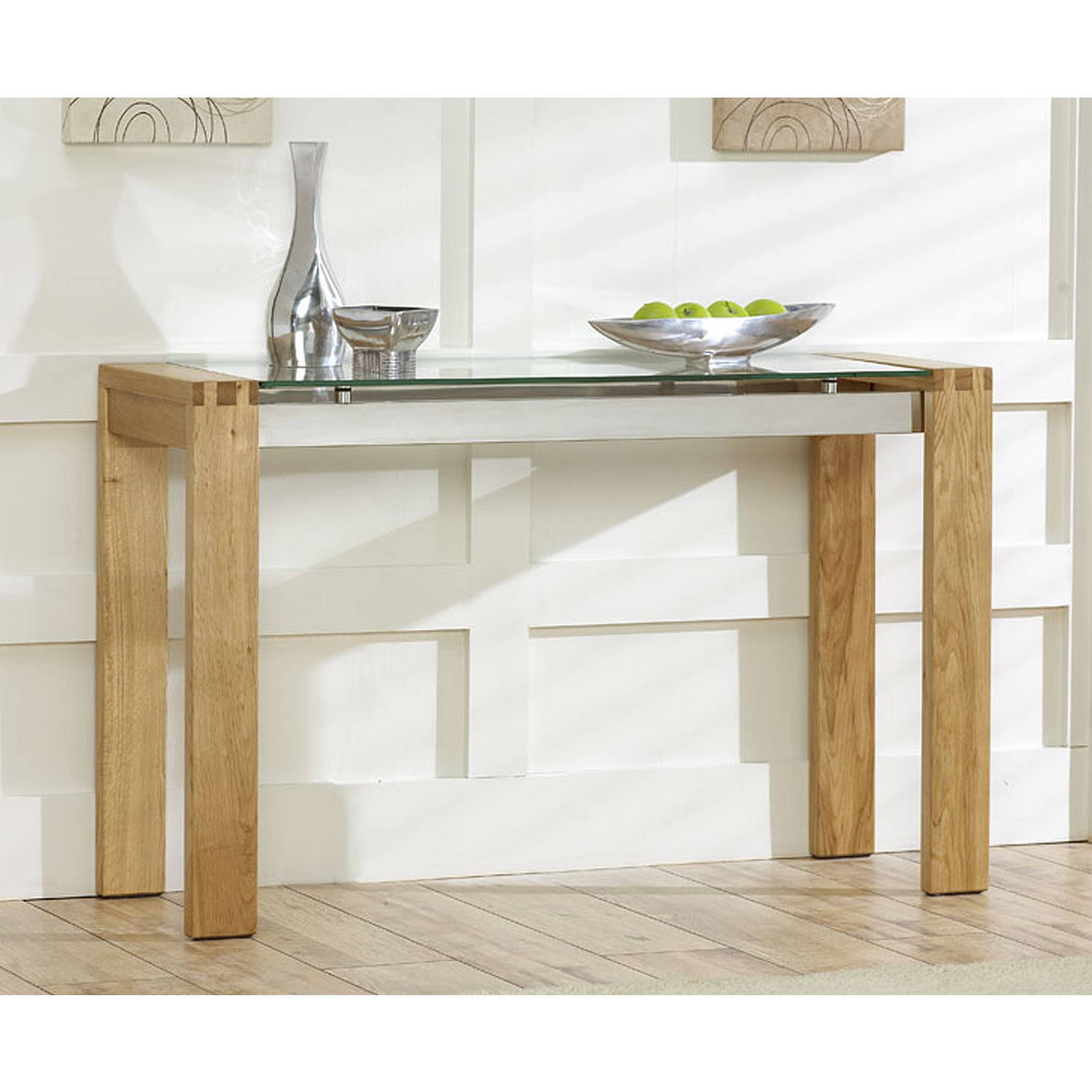 Venice Solid Oak Console Table With Glass Top Next Day Elegant Within Era Glass Console Tables (View 3 of 30)