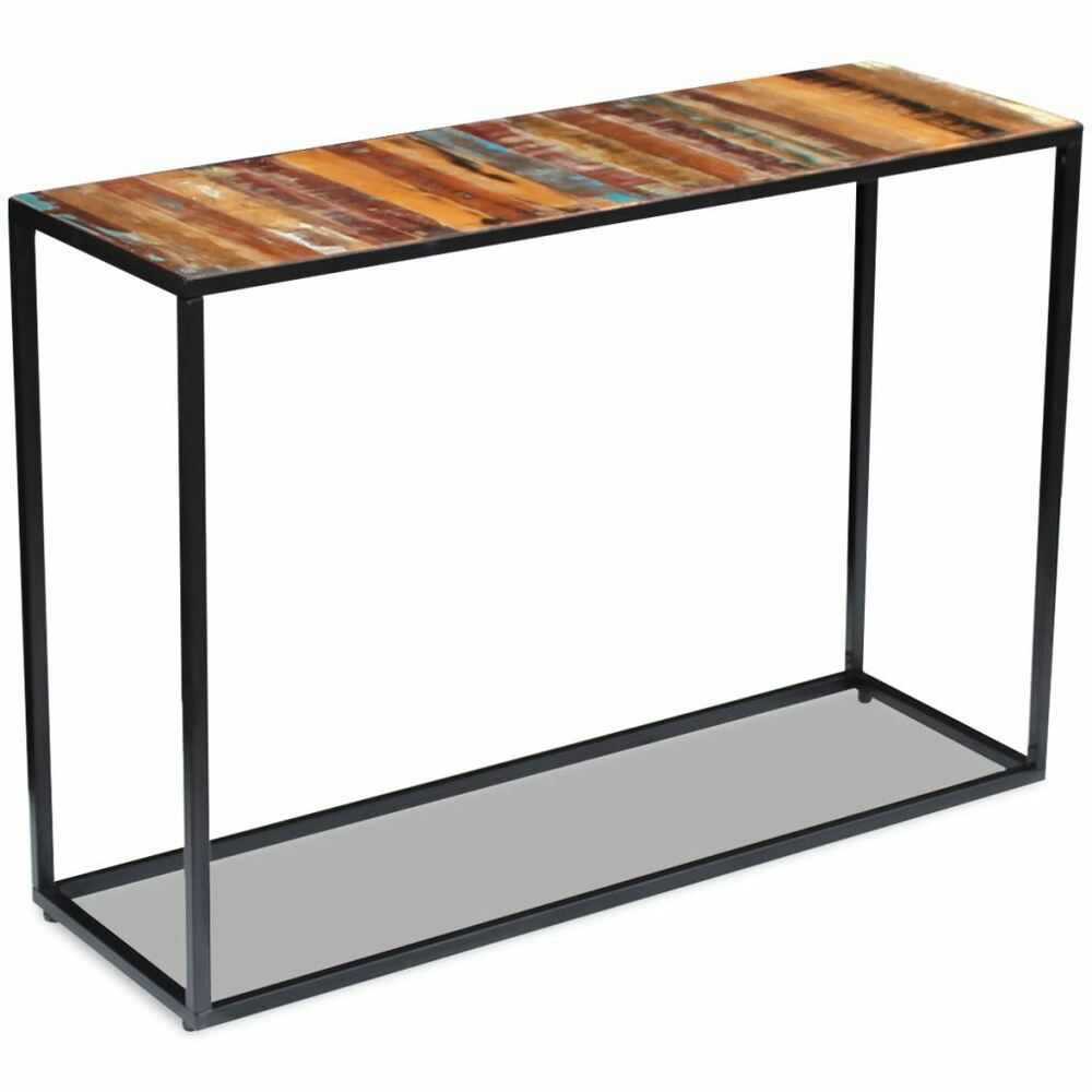 Vidaxl Solid Reclaimed Wood Steel Console Side Table Hall Display throughout Ventana Display Console Tables (Image 30 of 30)