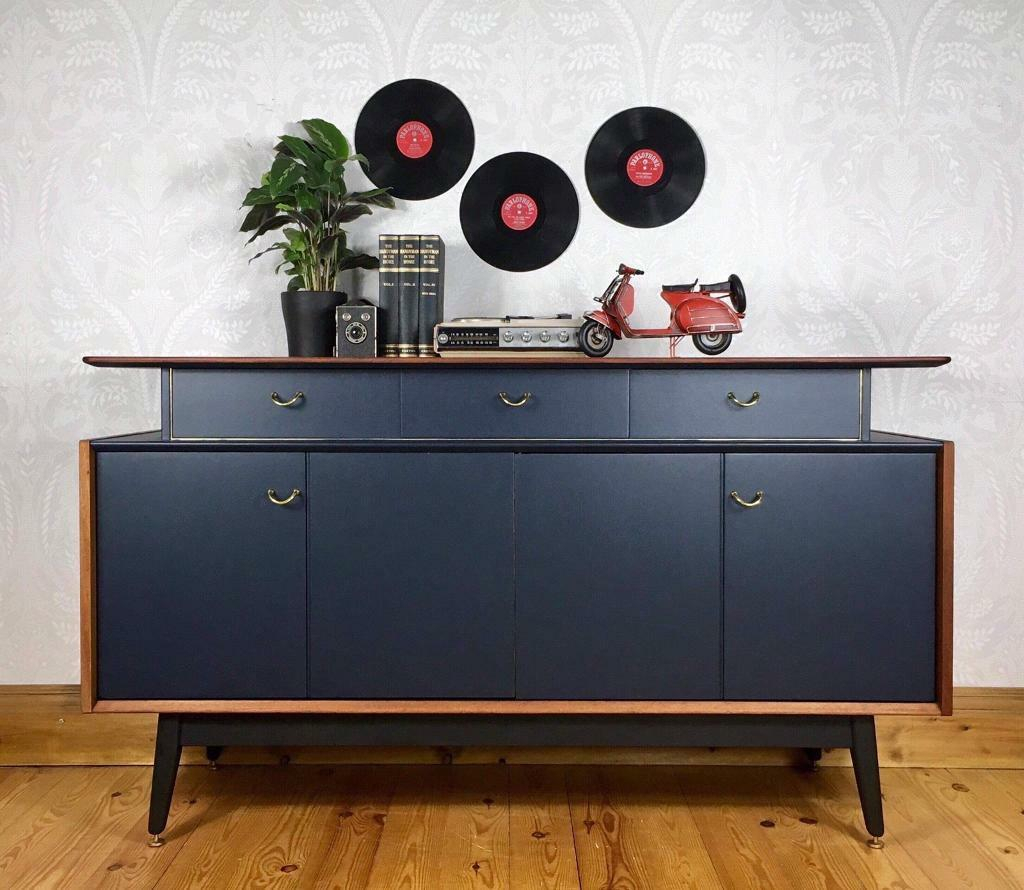 Vintage Retro G Plan Tola And Black Sideboard | In Wakefield, West In Wakefield 85 Inch Tv Stands (View 7 of 30)