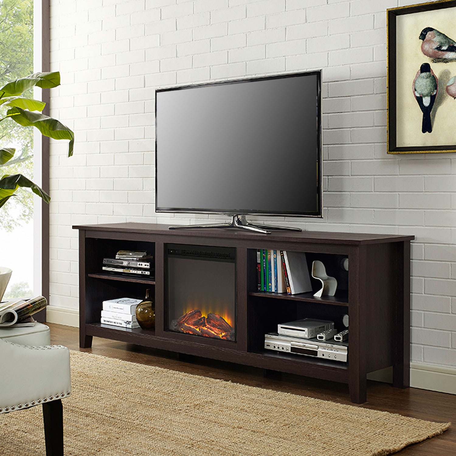 Walker Edison Furniture Co. 70 Inch Fireplace Tv Stand Espresso Intended For Valencia 60 Inch Tv Stands (Photo 9 of 30)