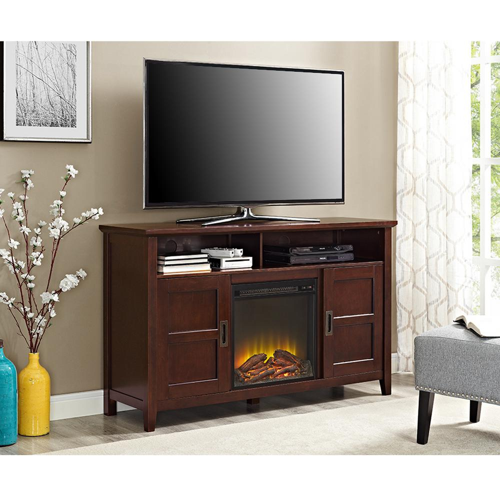 Walker Edison Furniture Company 52 In. Electric Fireplace Tv Stand in Canyon 64 Inch Tv Stands (Image 30 of 30)