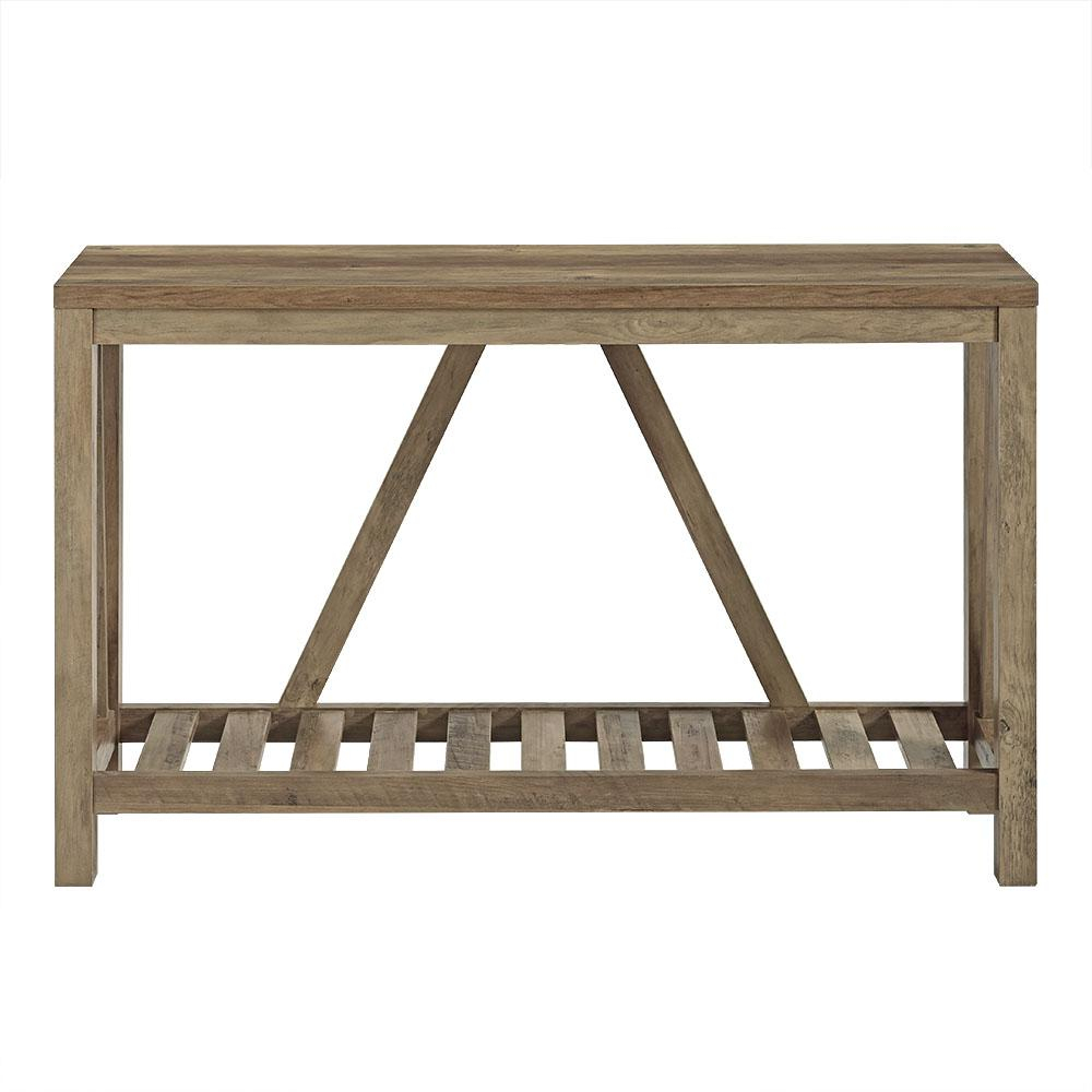 Walker Edison Furniture Company 52 In. Rustic Oak A Frame Rustic In Frame Console Tables (Photo 6 of 30)