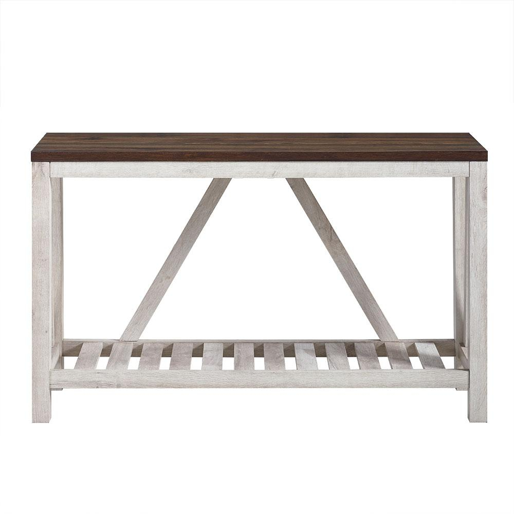 Walker Edison Furniture Company 52 In. White Oak Body A Frame Rustic With Frame Console Tables (Photo 15 of 30)