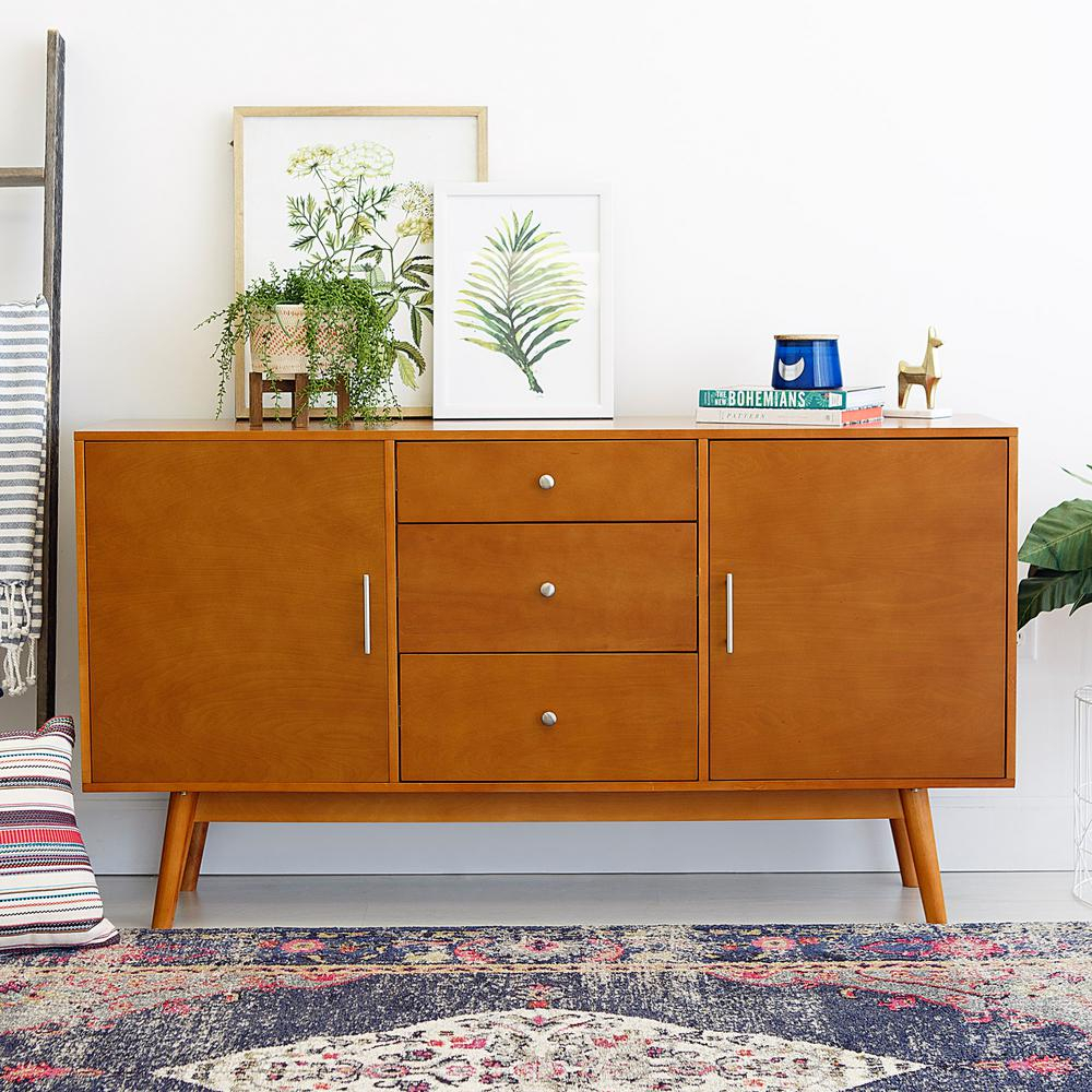 Walker Edison Furniture Company 60 In. Mid-Century Modern Wood Tv within Century White 60 Inch Tv Stands (Image 25 of 30)