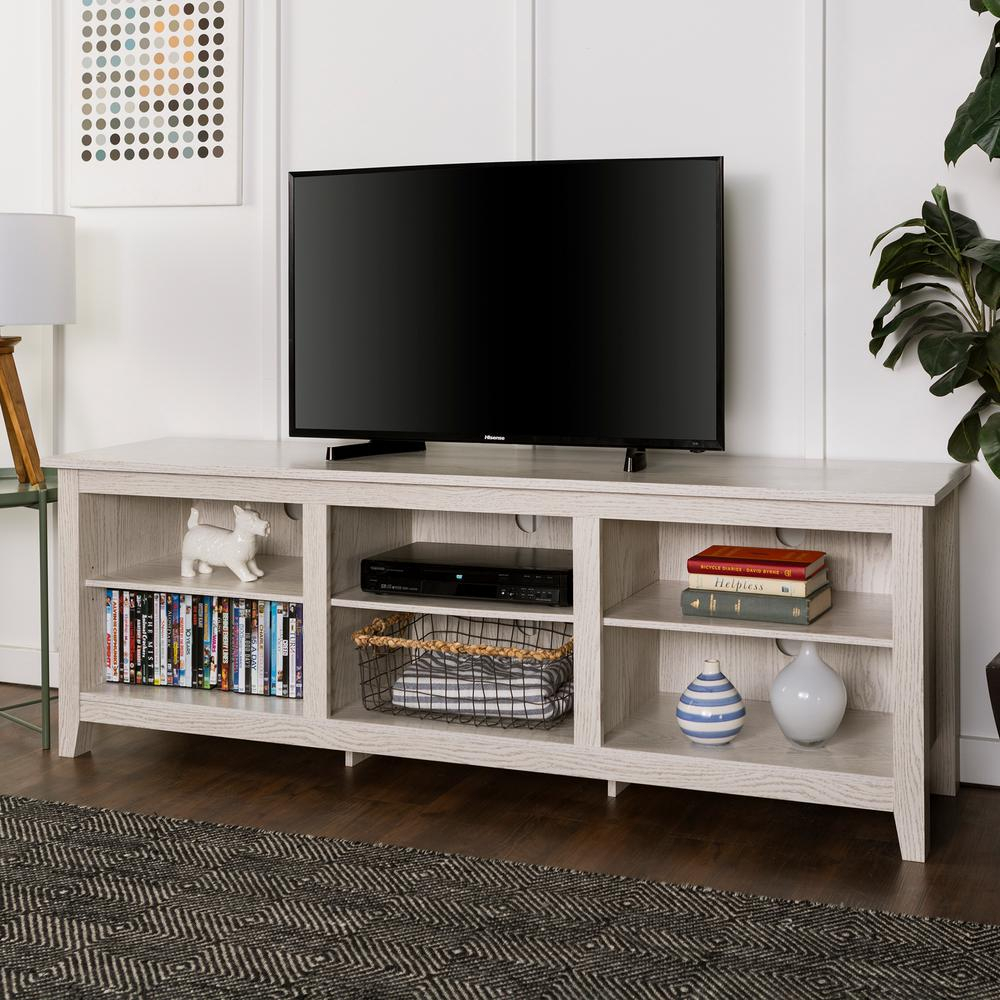 Walker Edison Furniture Company 70 In. Wood Media Tv Stand Storage With Regard To Century White 60 Inch Tv Stands (Photo 7 of 30)