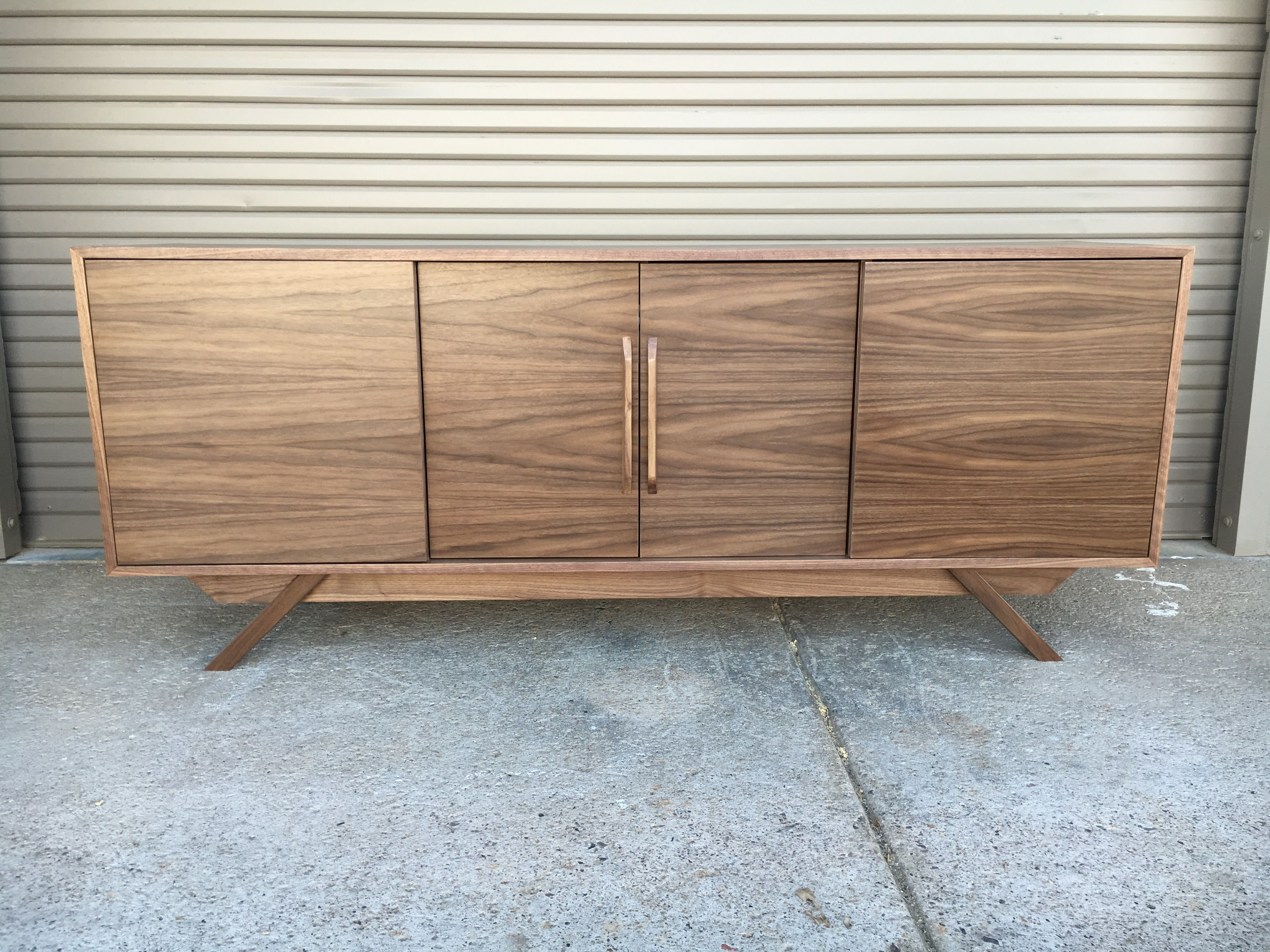 Walnut 4 Door Credenza   Angled Leg | Living Room | Pinterest Pertaining To Parsons Clear Glass Top & Stainless Steel Base 48X16 Console Tables (Photo 26 of 30)