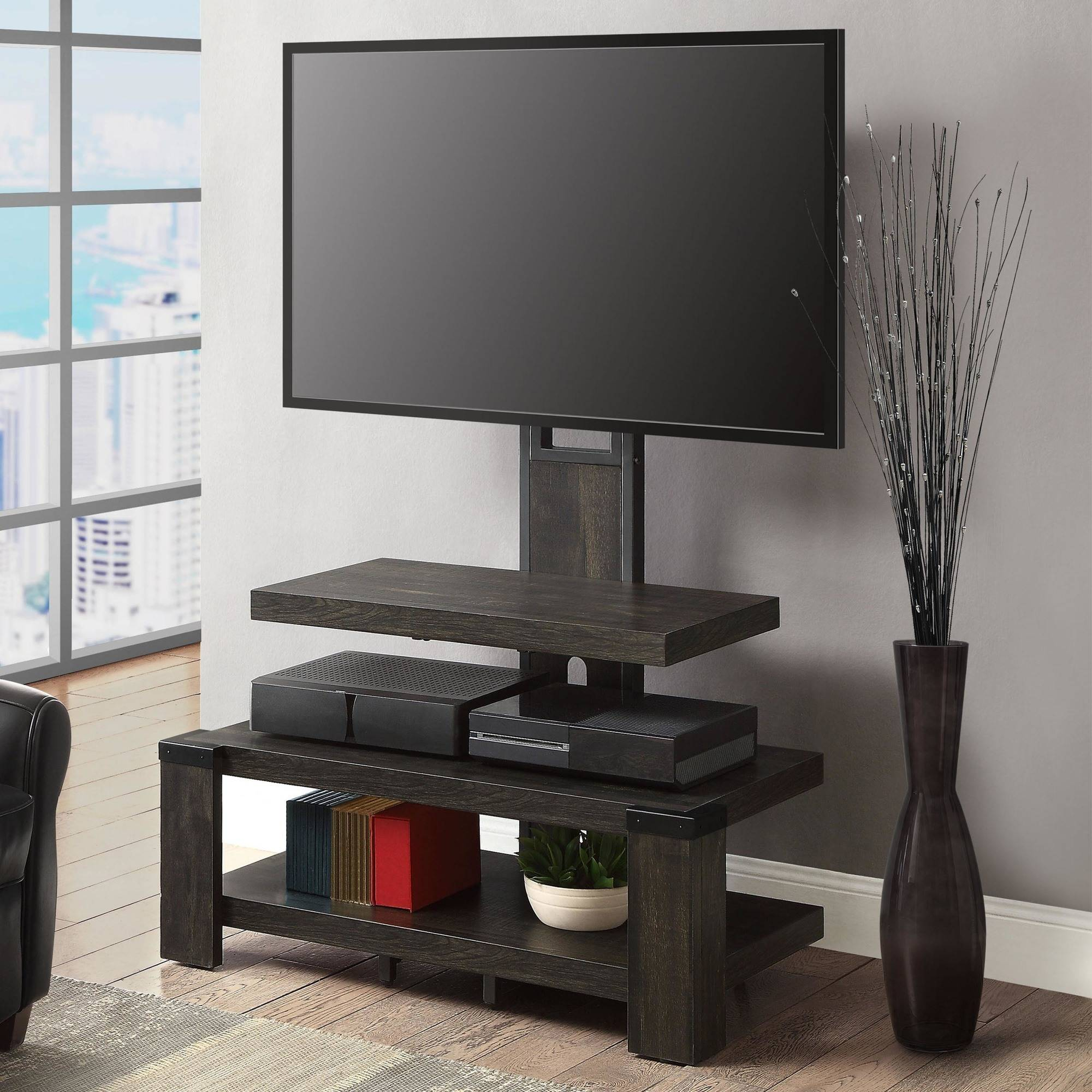 Whalen 3-Shelf Television Stand With Floater Mount For Tvs Up To 55 inside Oxford 60 Inch Tv Stands (Image 28 of 30)