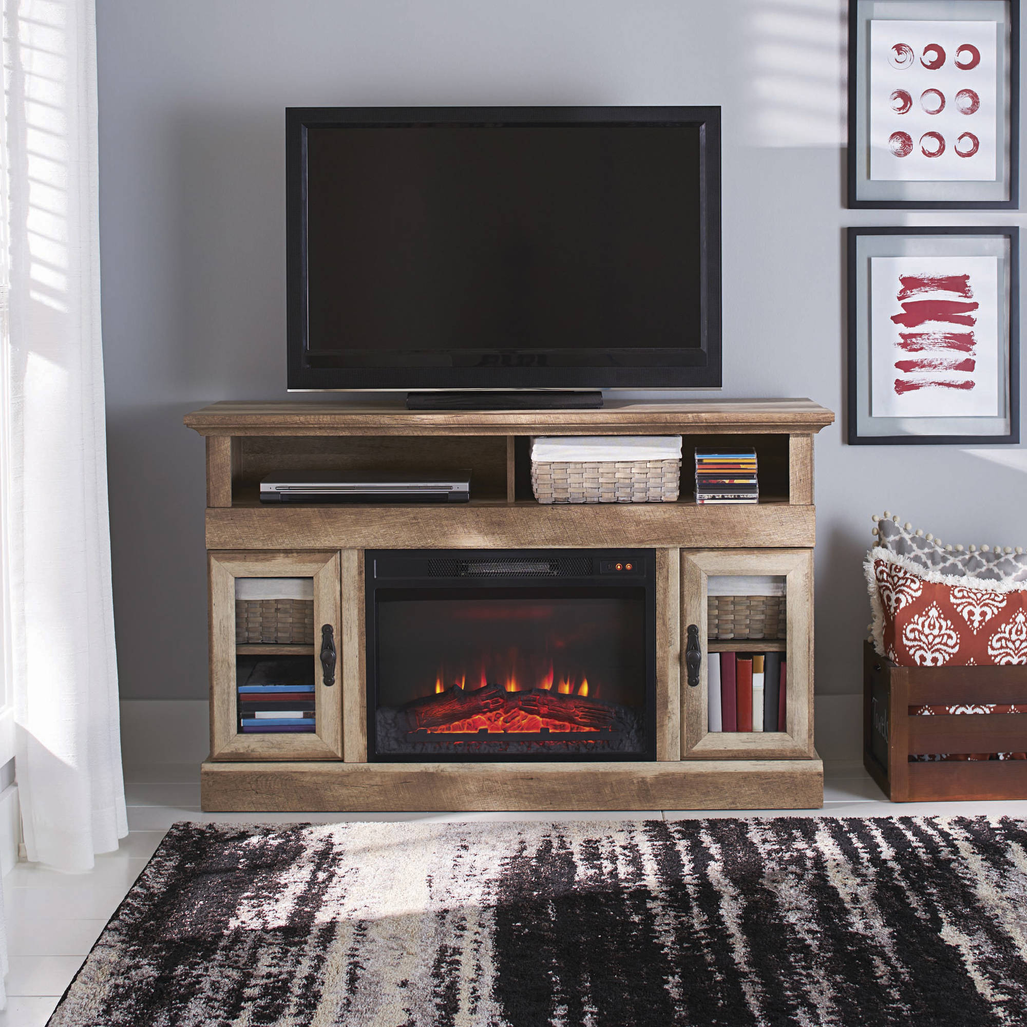 Whalen Media Fireplace For Your Home Television Stand Fits Tvs Up To with regard to Walton Grey 72 Inch Tv Stands (Image 28 of 30)