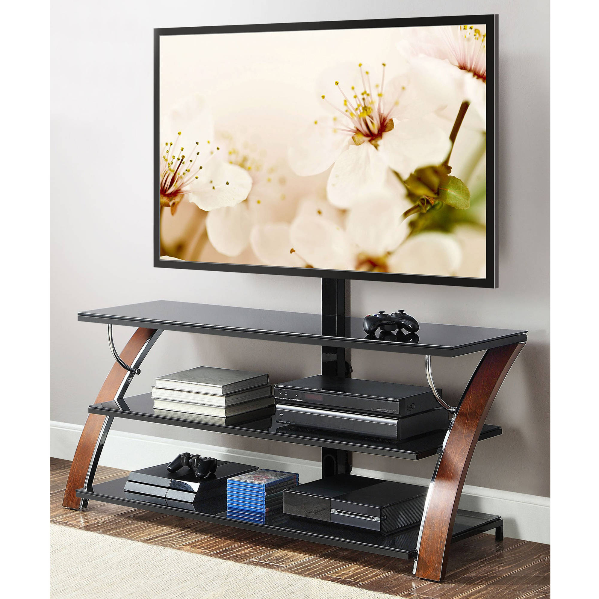 Whalen Payton Brown Cherry 3-In-1 Flat Panel Tv Stand For Tvs Up To pertaining to Jaxon 65 Inch Tv Stands (Image 30 of 30)