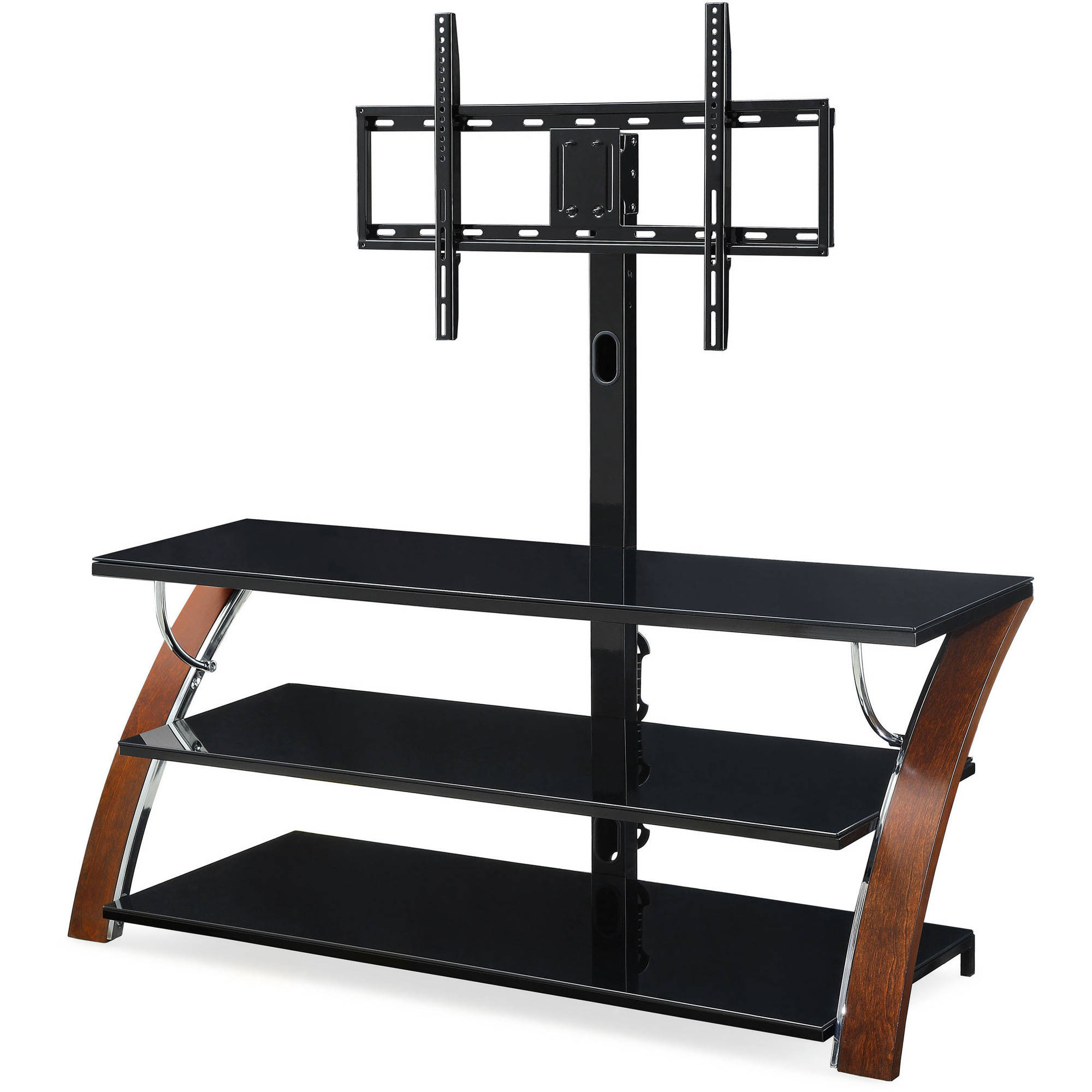 Whalen Payton Brown Cherry 3 In 1 Flat Panel Tv Stand For Tvs Up To Pertaining To Jaxon 71 Inch Tv Stands (View 13 of 30)