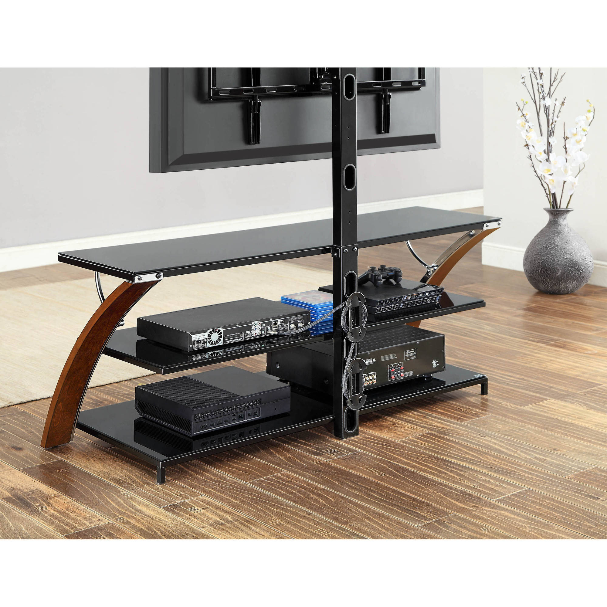 Whalen Payton Brown Cherry 3 In 1 Flat Panel Tv Stand For Tvs Up To Throughout Jaxon 71 Inch Tv Stands (View 12 of 30)