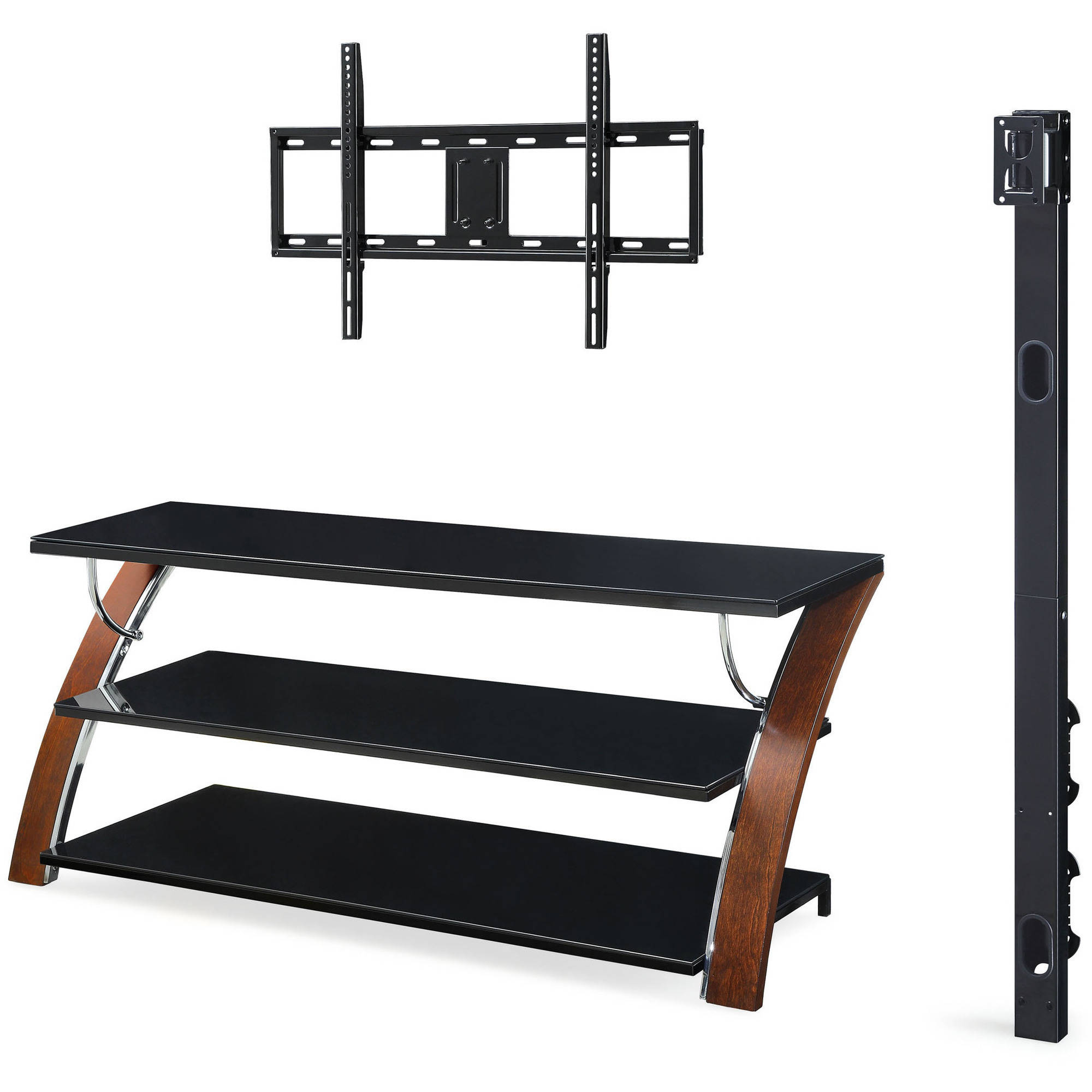 Whalen Payton Brown Cherry 3 In 1 Flat Panel Tv Stand For Tvs Up To Within Jaxon 71 Inch Tv Stands (View 17 of 30)