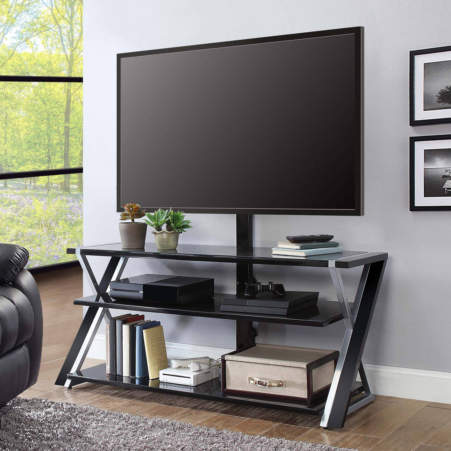 """Whalen Xavier 3 In 1 Tv Stand For Tvs Up To 70"""", With 3 Display Inside Walton Grey 60 Inch Tv Stands (View 10 of 30)"""