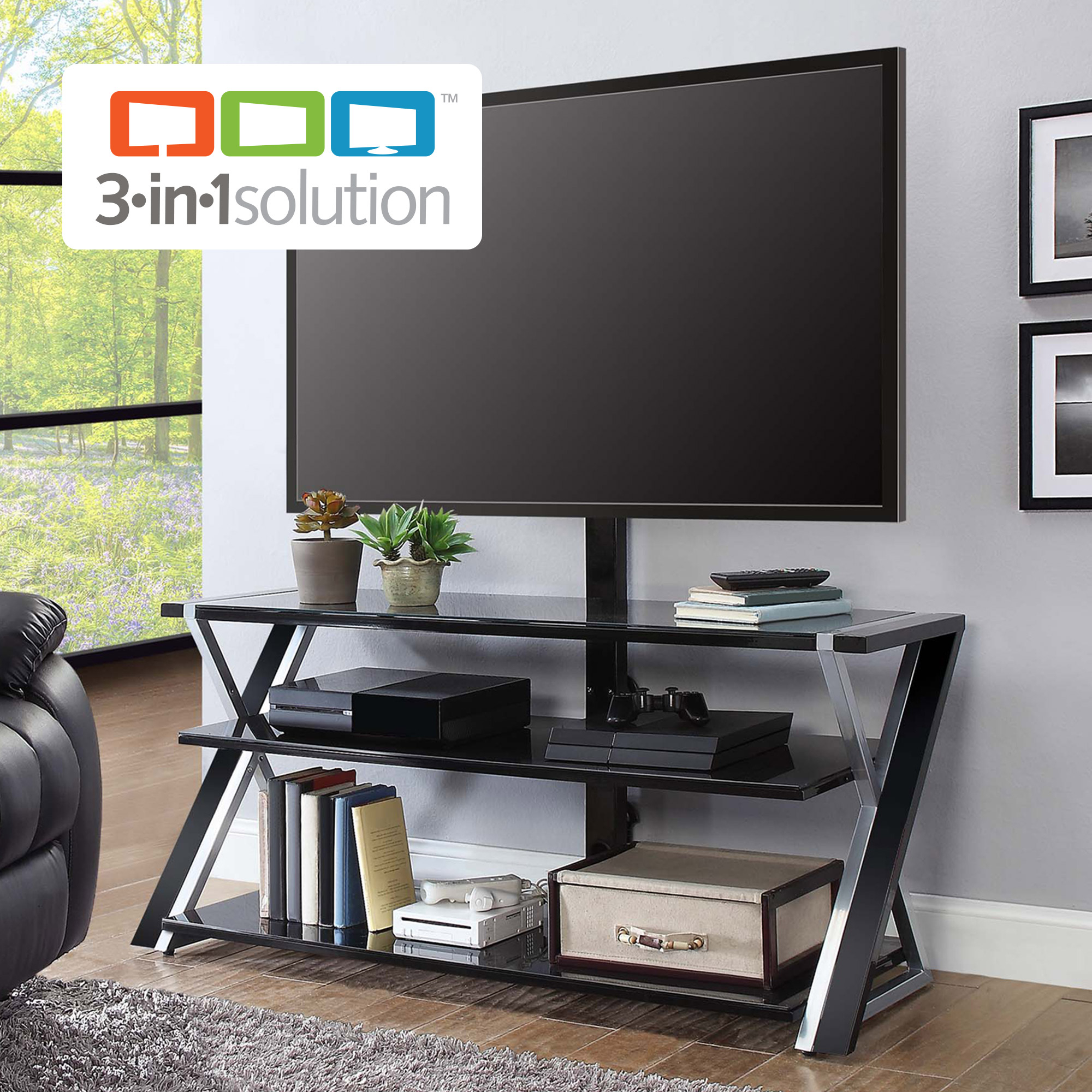 """Whalen Xavier 3 In 1 Tv Stand For Tvs Up To 70"""", With 3 Display Pertaining To Walton 60 Inch Tv Stands (View 9 of 30)"""