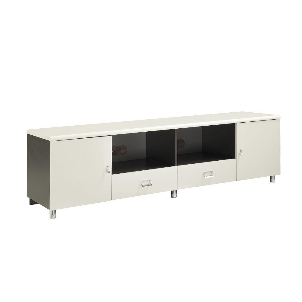 White & Gunmetal Finish Tv Console With Chrome Hardwarecoaster Throughout Gunmetal Media Console Tables (Photo 9 of 30)