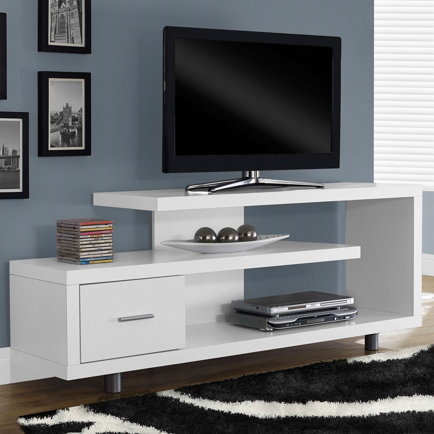 White Modern Tv Stand - Fits Up To 60-Inch Flat Screen Tv for Annabelle Blue 70 Inch Tv Stands (Image 29 of 30)