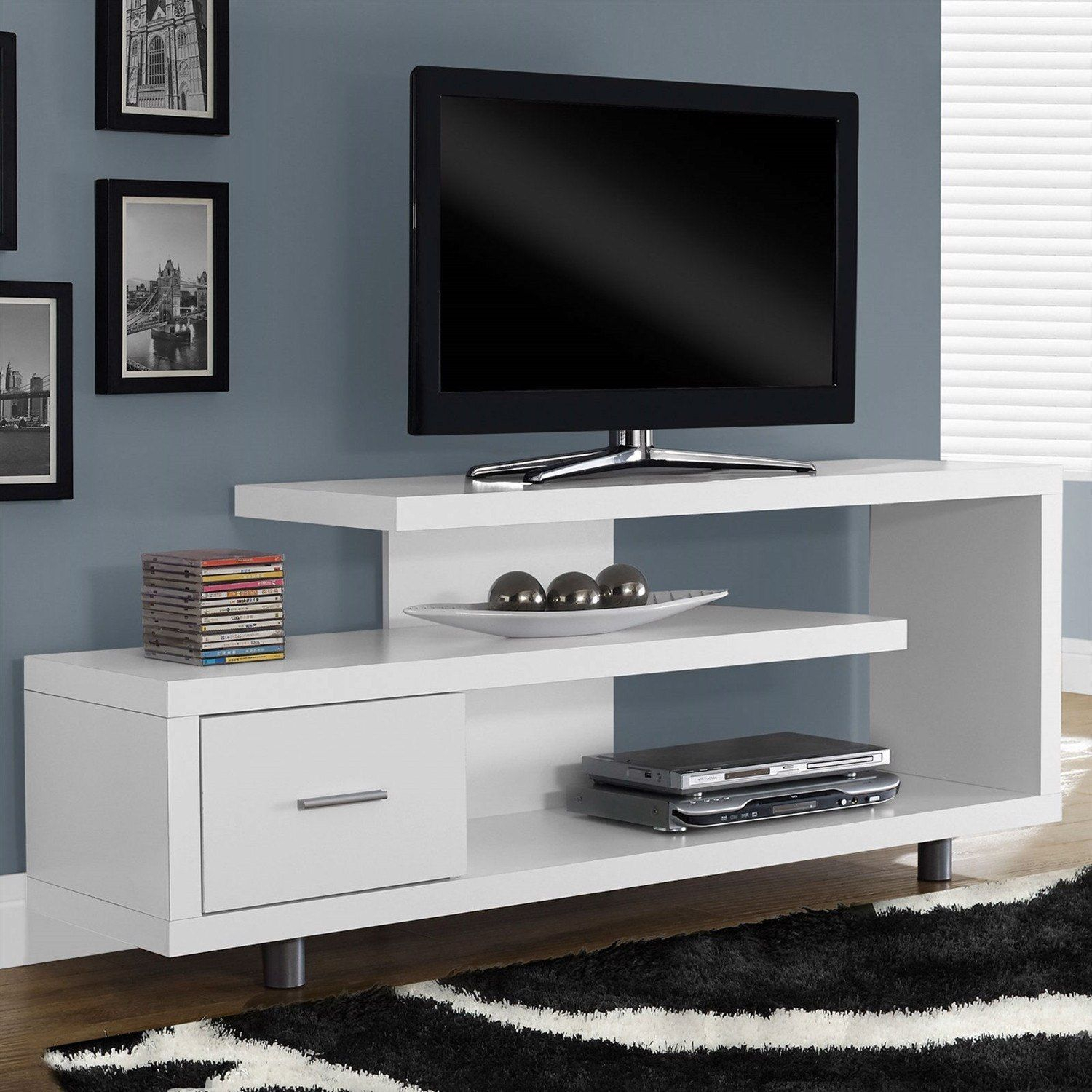 White Modern Tv Stand – Fits Up To 60 Inch Flat Screen Tv | Home With Laurent 60 Inch Tv Stands (View 2 of 30)