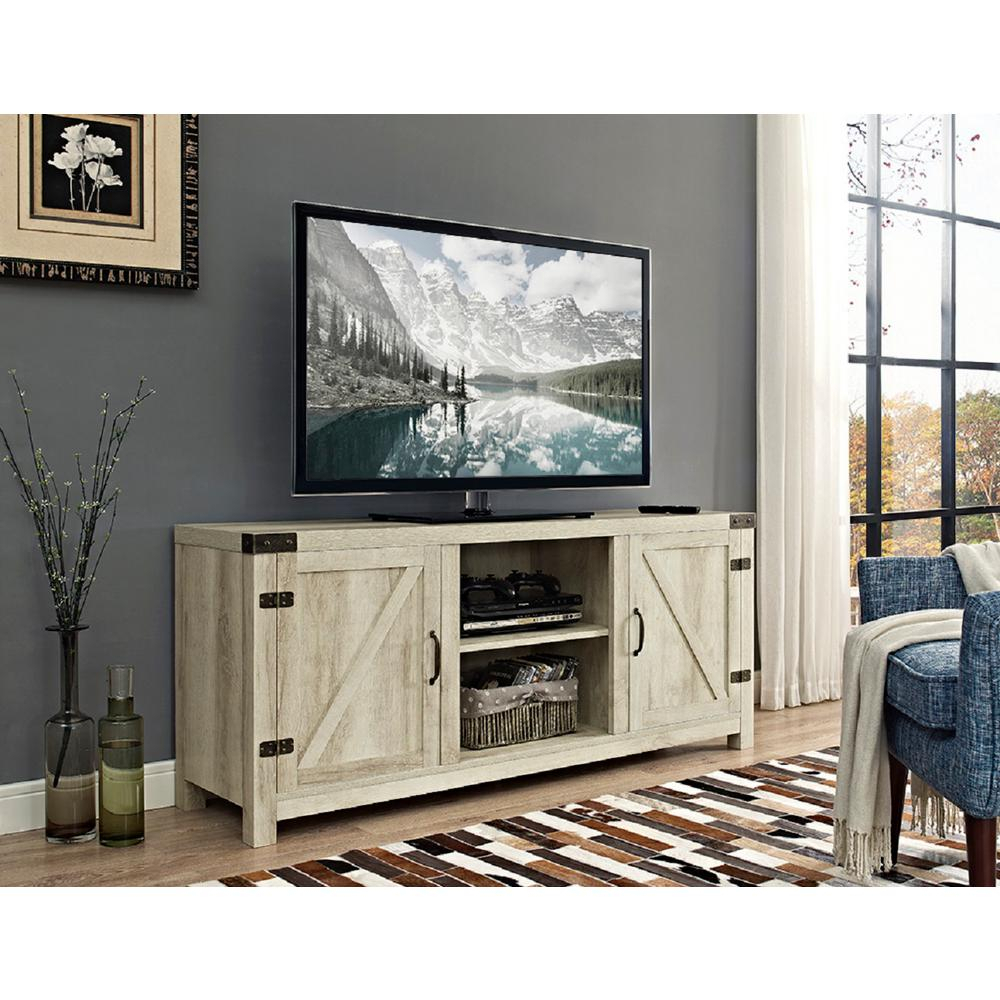 White – Tv Stands – Living Room Furniture – The Home Depot In Century Blue 60 Inch Tv Stands (View 30 of 30)