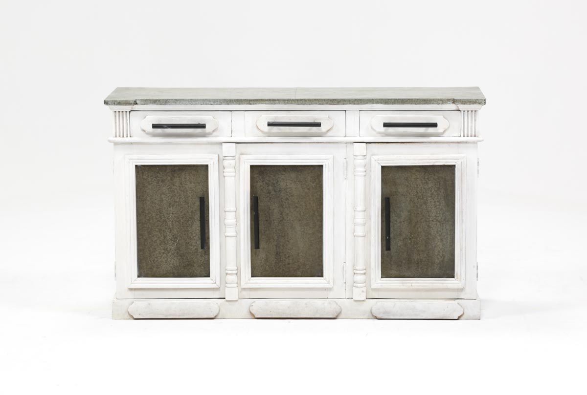 White Wash 3 Door/3 Drawer Sideboard | Living Spaces Within Mikelson Media Console Tables (View 2 of 30)