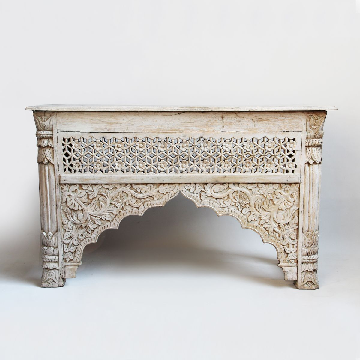 White Wash Carved Wood Architectural Console Table. | Colonial throughout Mix Patina Metal Frame Console Tables (Image 30 of 30)
