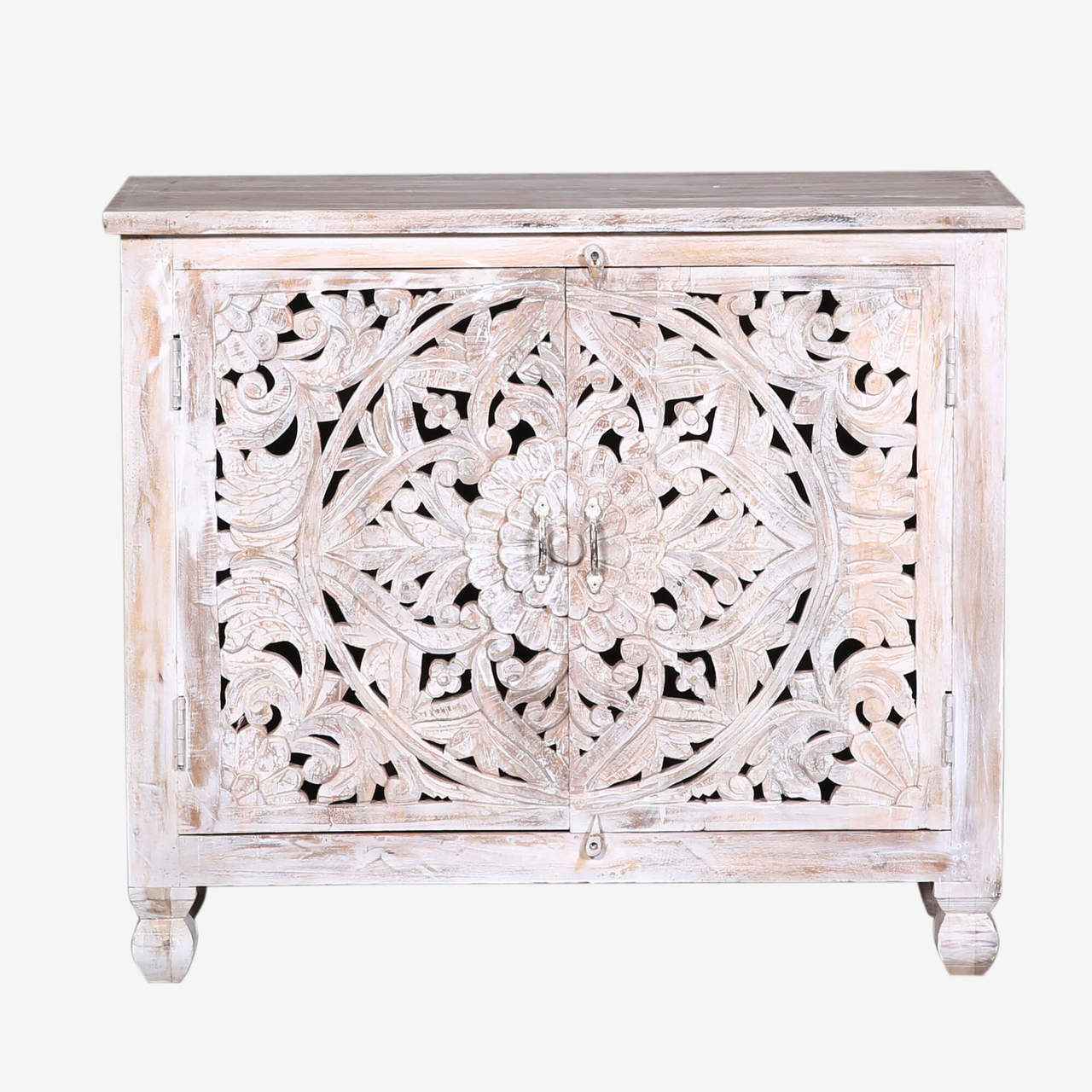 White Wash Farmhouse Carved Door Accent Cabinet – Reclaimed Wood With Hand Carved White Wash Console Tables (View 20 of 30)