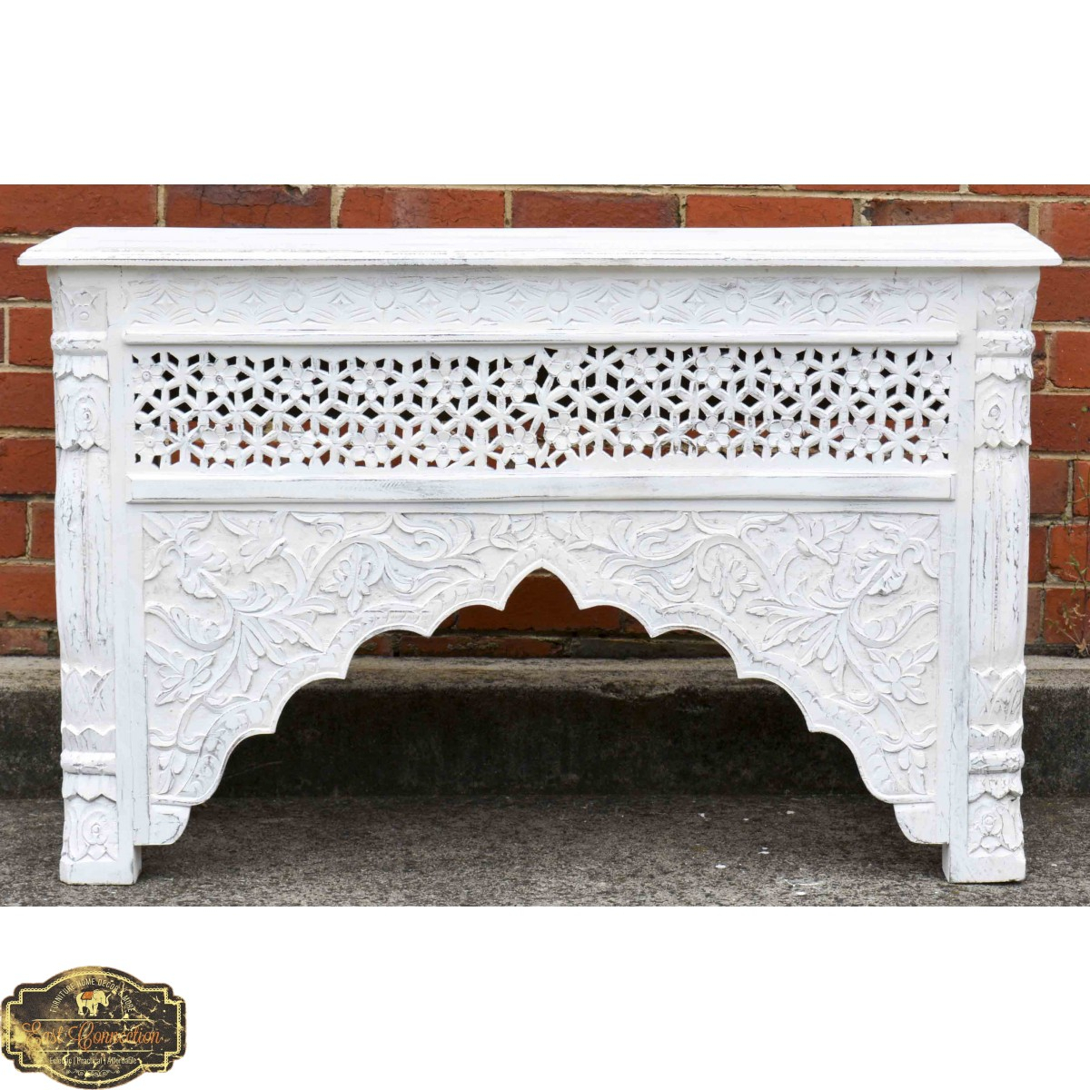 Whitewashed Indian Carved Console/hall Table Throughout Hand Carved White Wash Console Tables (View 14 of 30)