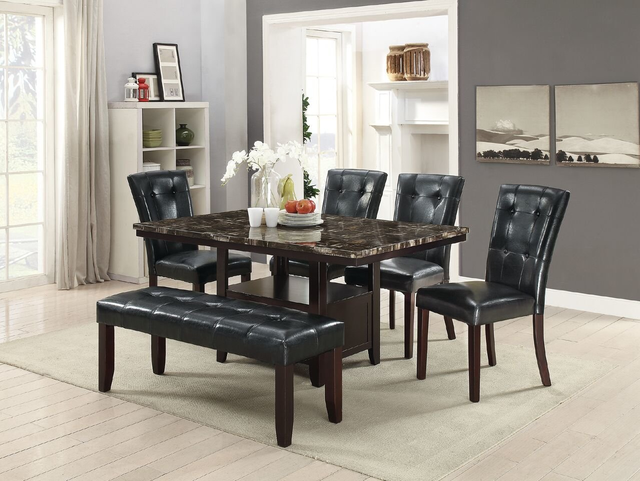 Winston Porter Upshaw 6 Piece Dining Set | Wayfair In Parsons Black Marble Top & Dark Steel Base 48X16 Console Tables (Photo 27 of 30)
