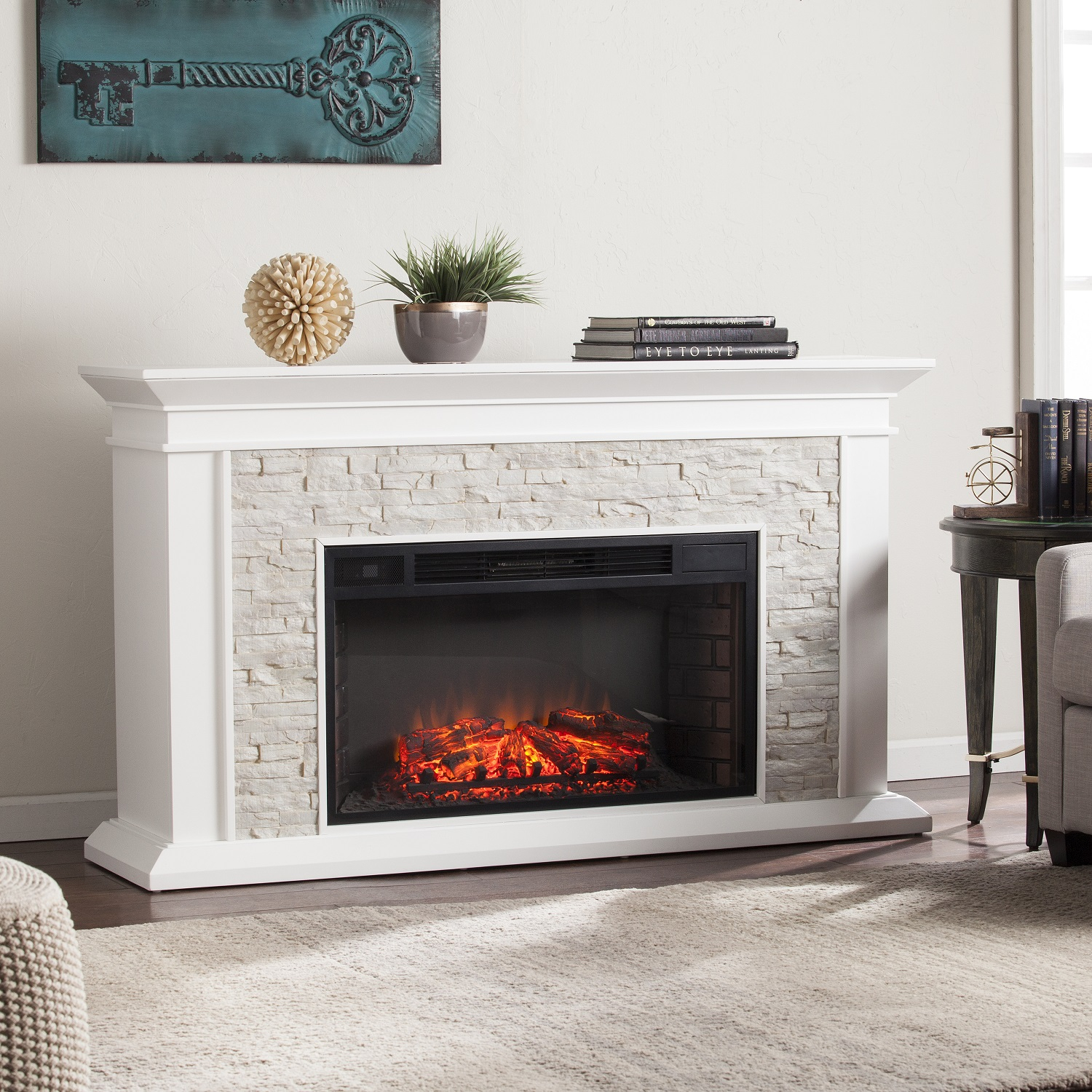 Wonderful 60 Inch Electric Fireplace Canyon Height Simulated Stone intended for Canyon 74 Inch Tv Stands (Image 29 of 30)