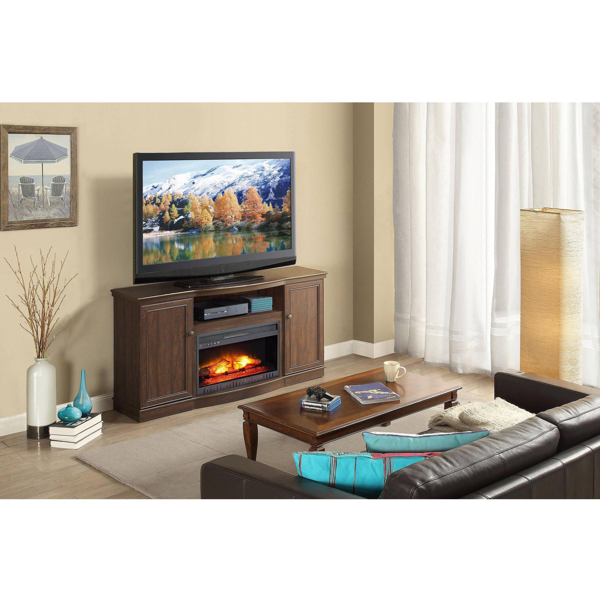 Wood Spaces Target Stand Black Fireplace Tall Wall Inch Mahogany intended for Marvin Rustic Natural 60 Inch Tv Stands (Image 30 of 30)