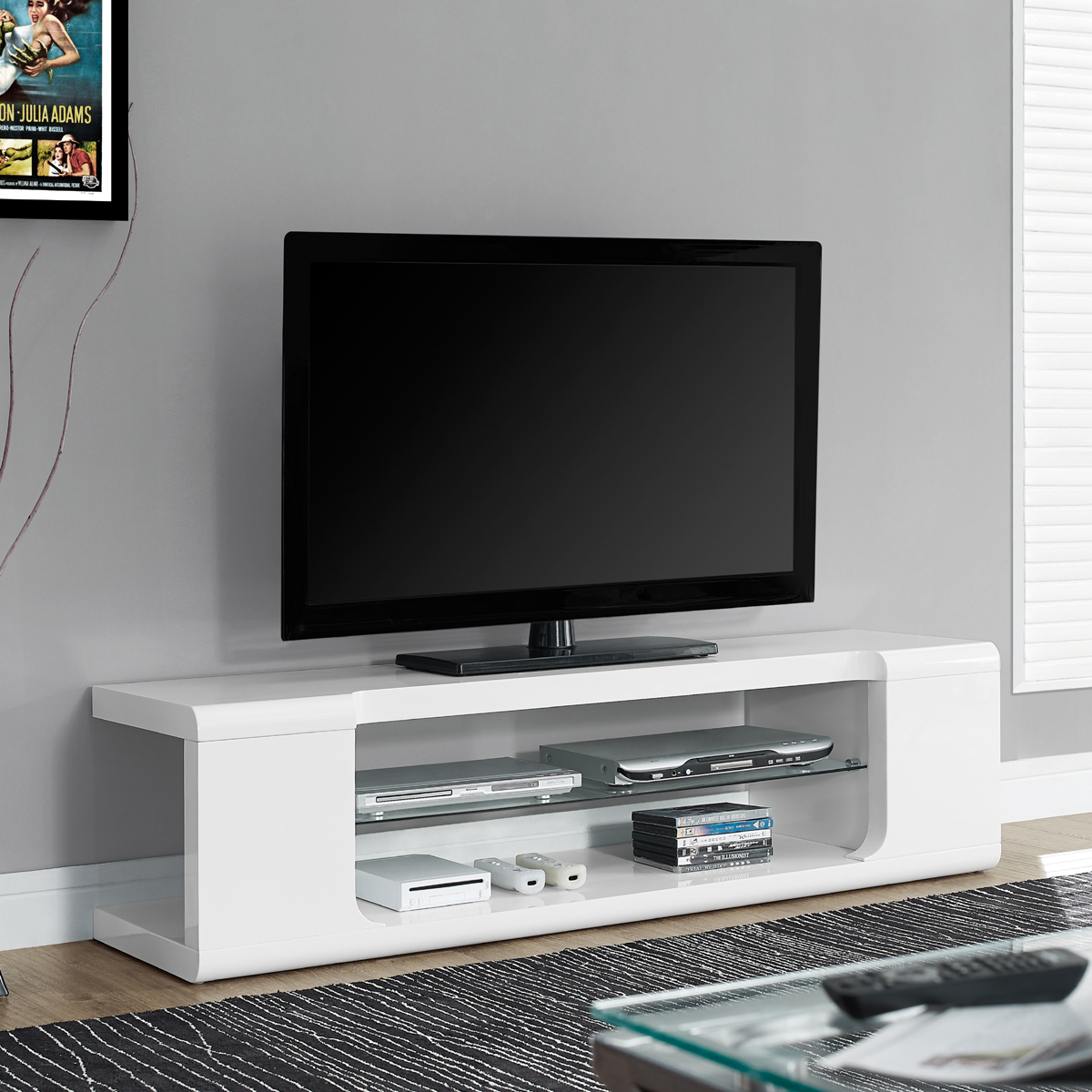 Wood Stand High Sunbury Color White Floating Stands Tall Overstock With Regard To Century White 60 Inch Tv Stands (Photo 13 of 30)