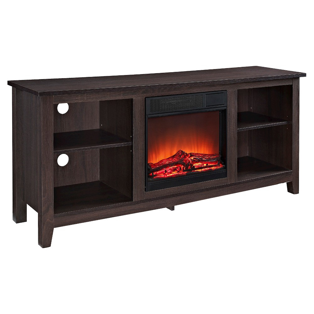Wood Tv Stand With Fireplace - Espresso (58) - Walker Edison, Warm with Sinclair Grey 64 Inch Tv Stands (Image 30 of 30)