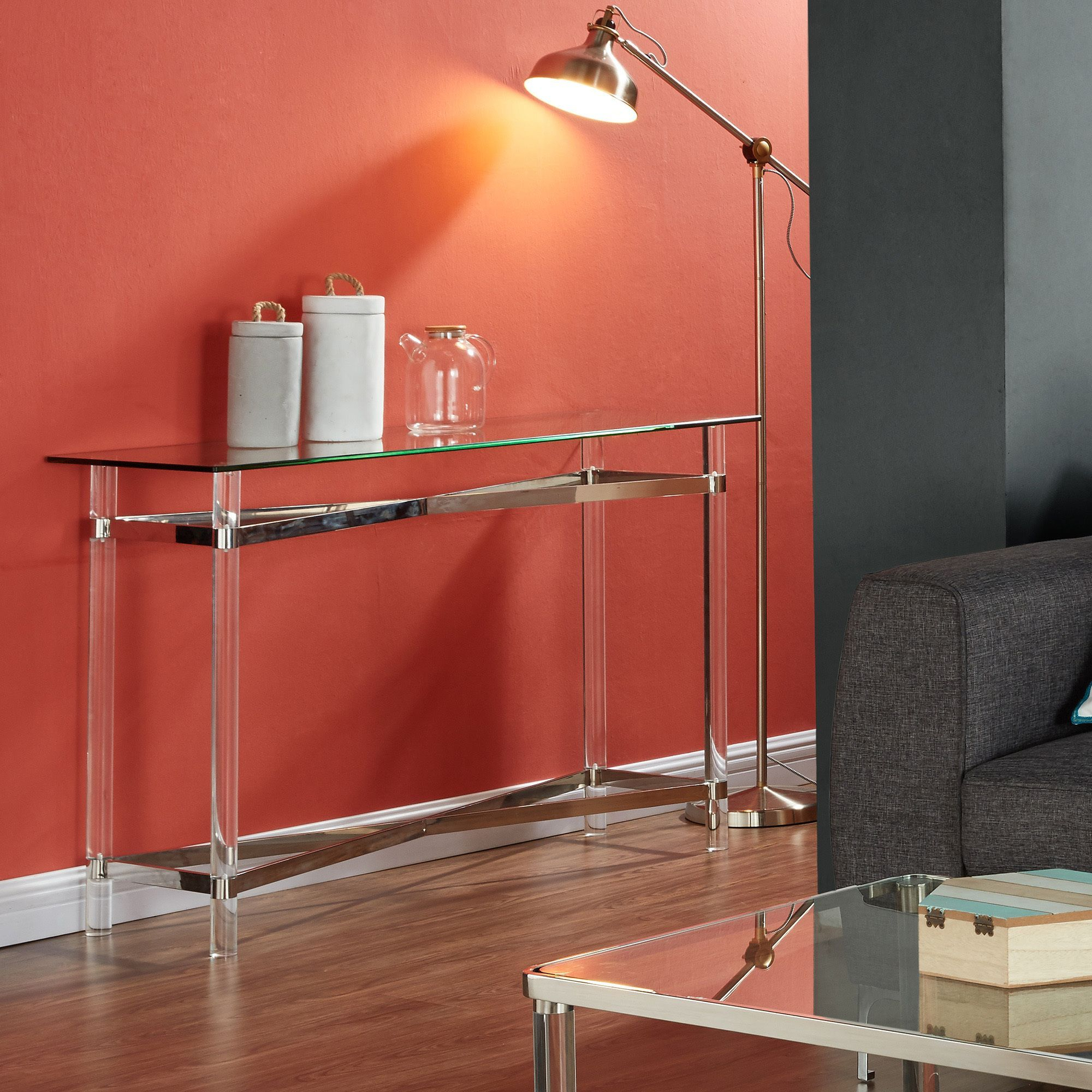 Worldwide Morelia Mixed Media Chrome/ Glass/ Acrylic Console Table With Elke Glass Console Tables With Brass Base (Photo 27 of 30)