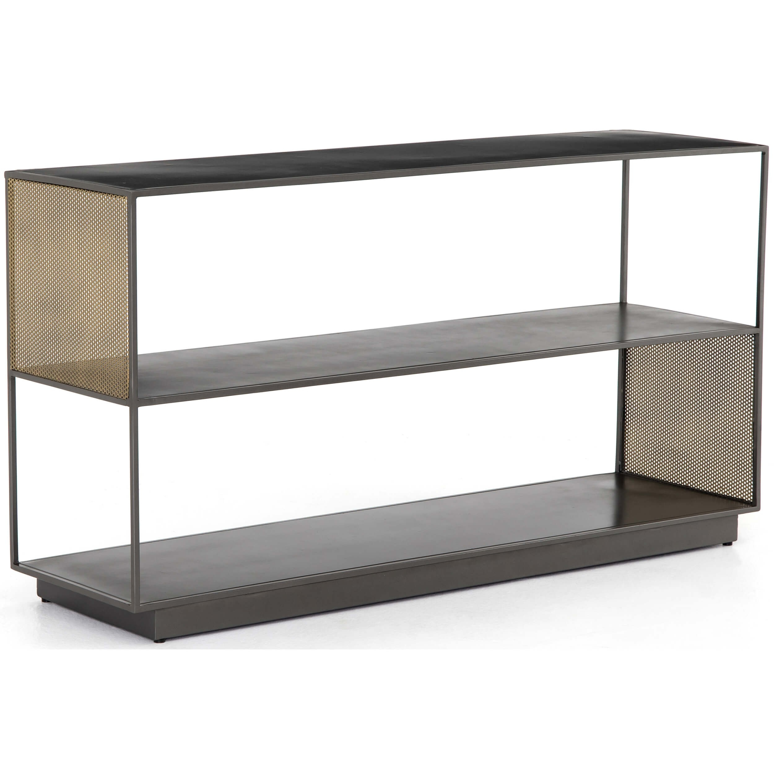 Zadie Media Console – Media – Storage – Furniture For Gunmetal Perforated Brass Media Console Tables (View 14 of 30)