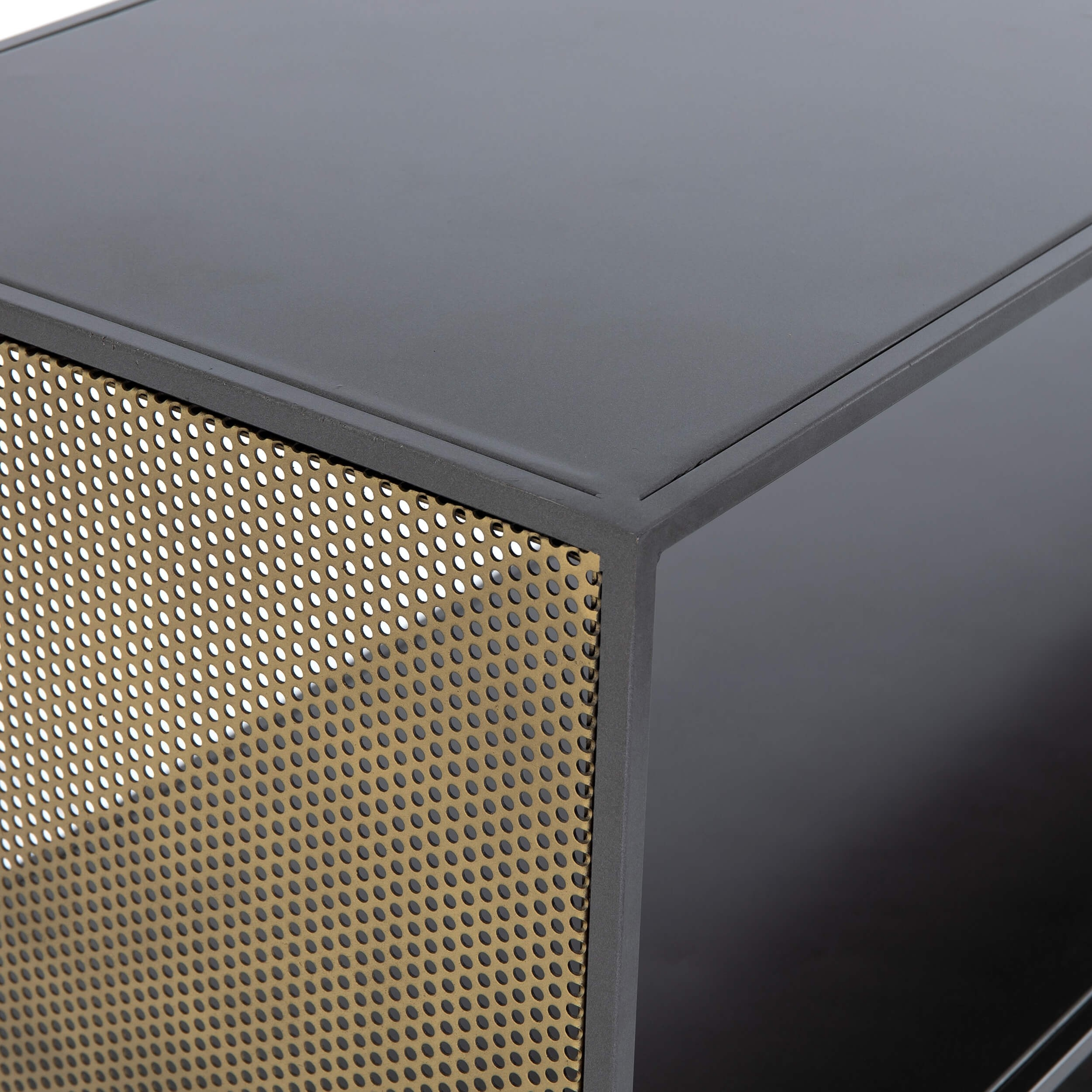 Zadie Media Console – Media – Storage – Furniture In Gunmetal Perforated Brass Media Console Tables (View 24 of 30)