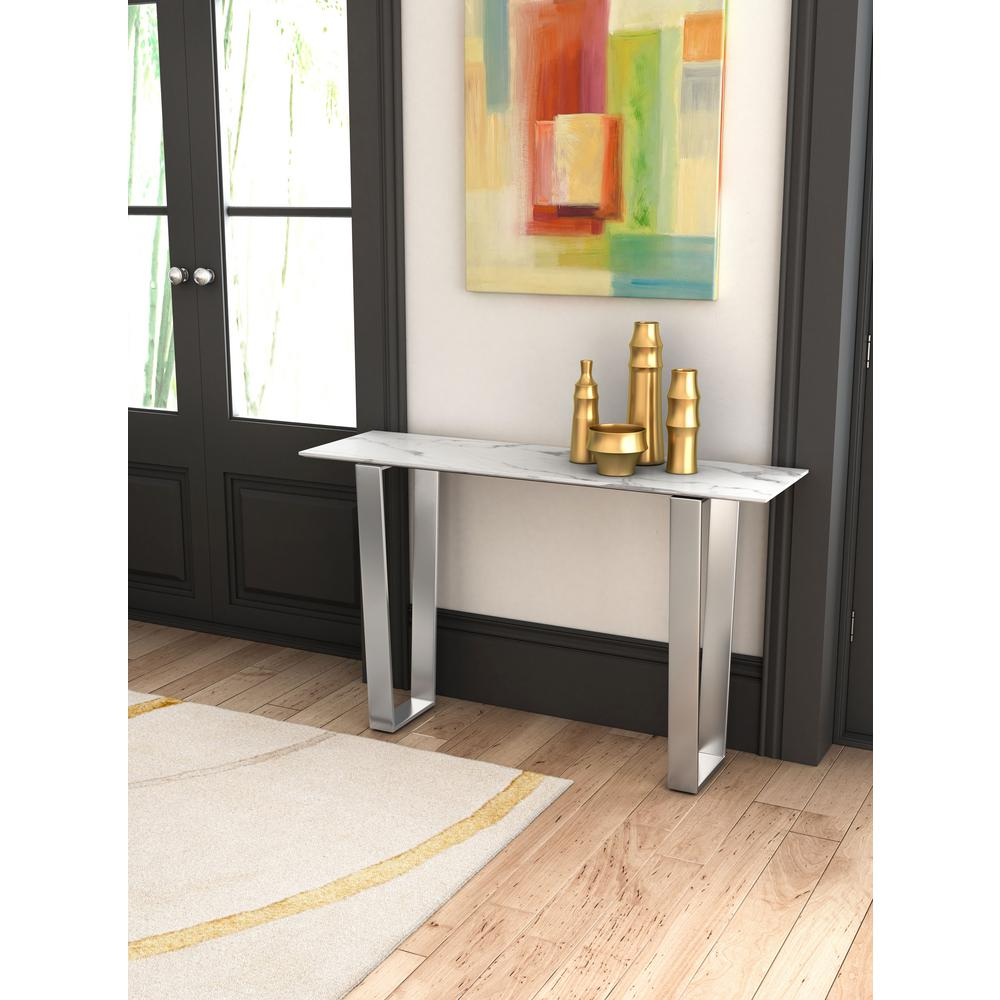 Zuo Atlas Stone And Brushed Stainless Steel Console Table-100709 with Natural Wood Mirrored Media Console Tables (Image 30 of 30)
