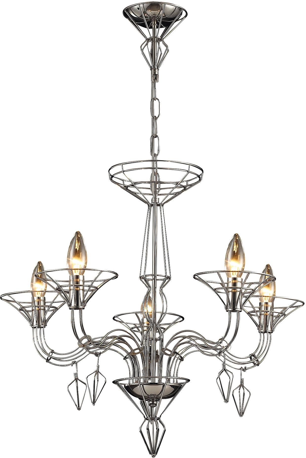 """0 016797>26""""""""w Couture 5 Light Chandelier Satin Nickel With Throughout Hesse 5 Light Candle Style Chandeliers (View 12 of 30)"""