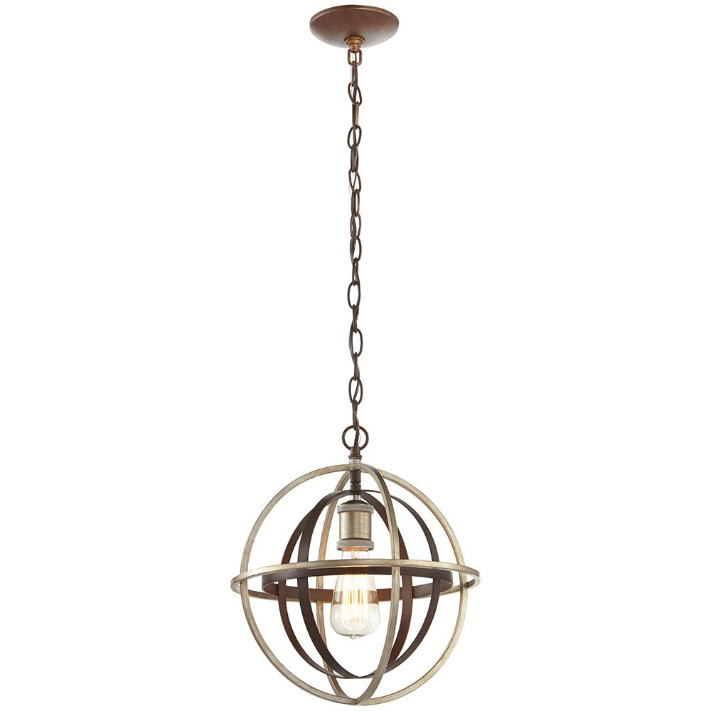 1 Light Bronze And Champagne Pewter Orb Mini Pendant Intended For Dirksen 3 Light Single Cylinder Chandeliers (View 20 of 30)