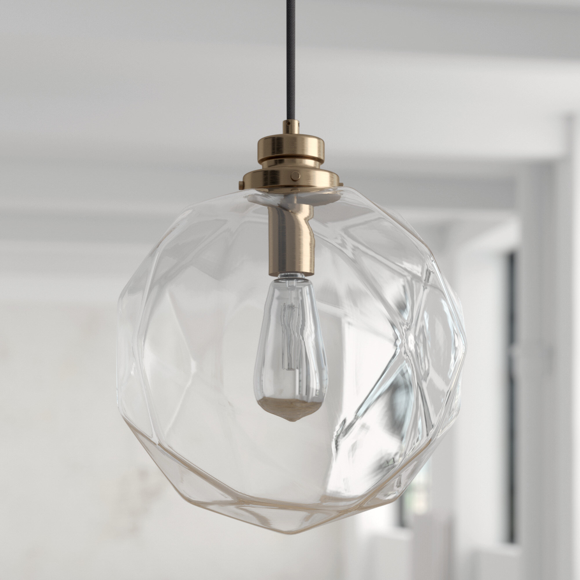 1 Light Geometric Globe Pendant Throughout Roslindale 1 Light Single Bell Pendants (Gallery 19 of 30)